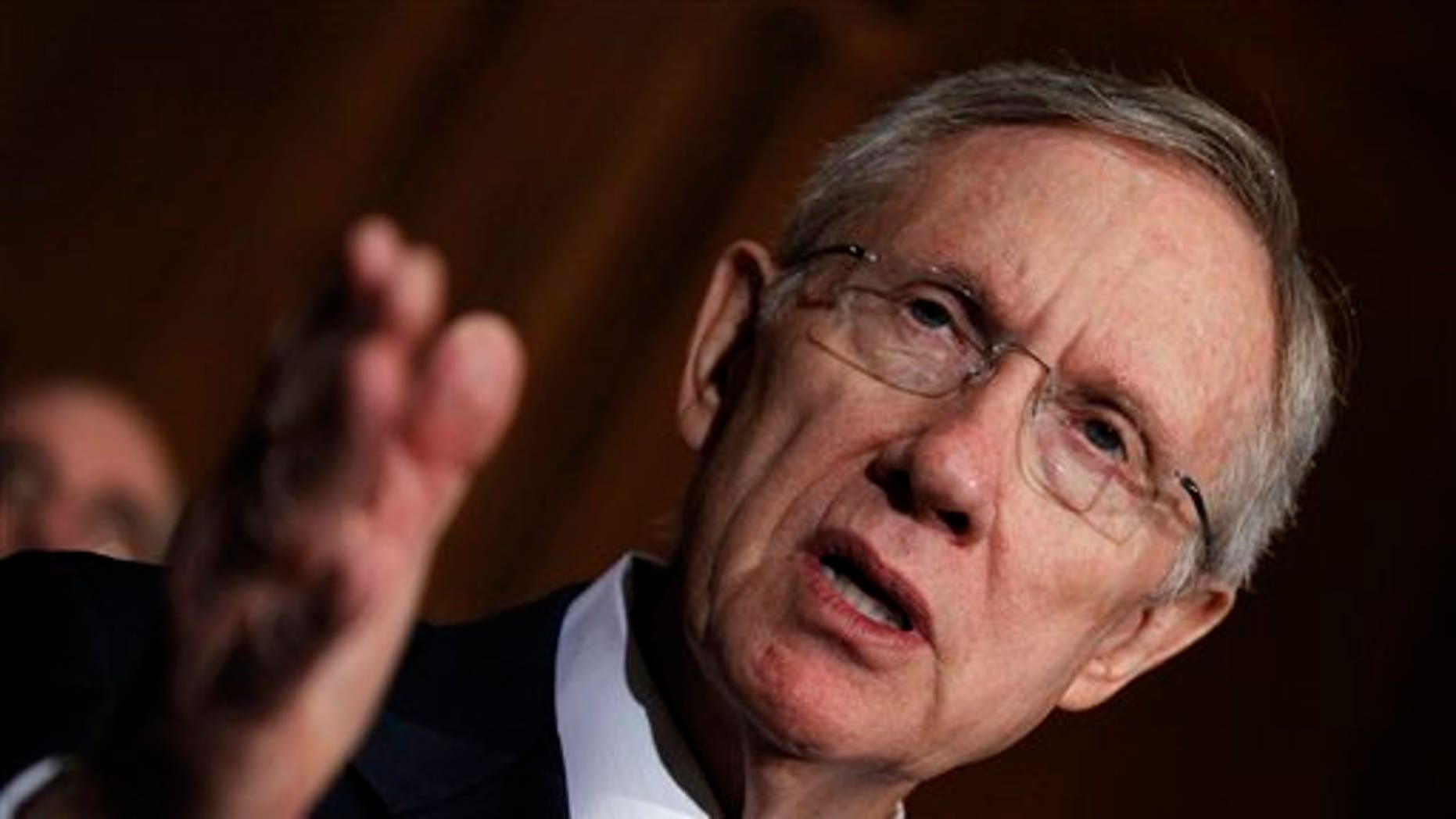 Senate Majority Leader Harry Reid of Nev. gestures during a news conference about the federal medical assistance program, Thursday, Aug. 5, 2010, on Capitol Hill in Washington. (AP Photo/Alex Brandon)