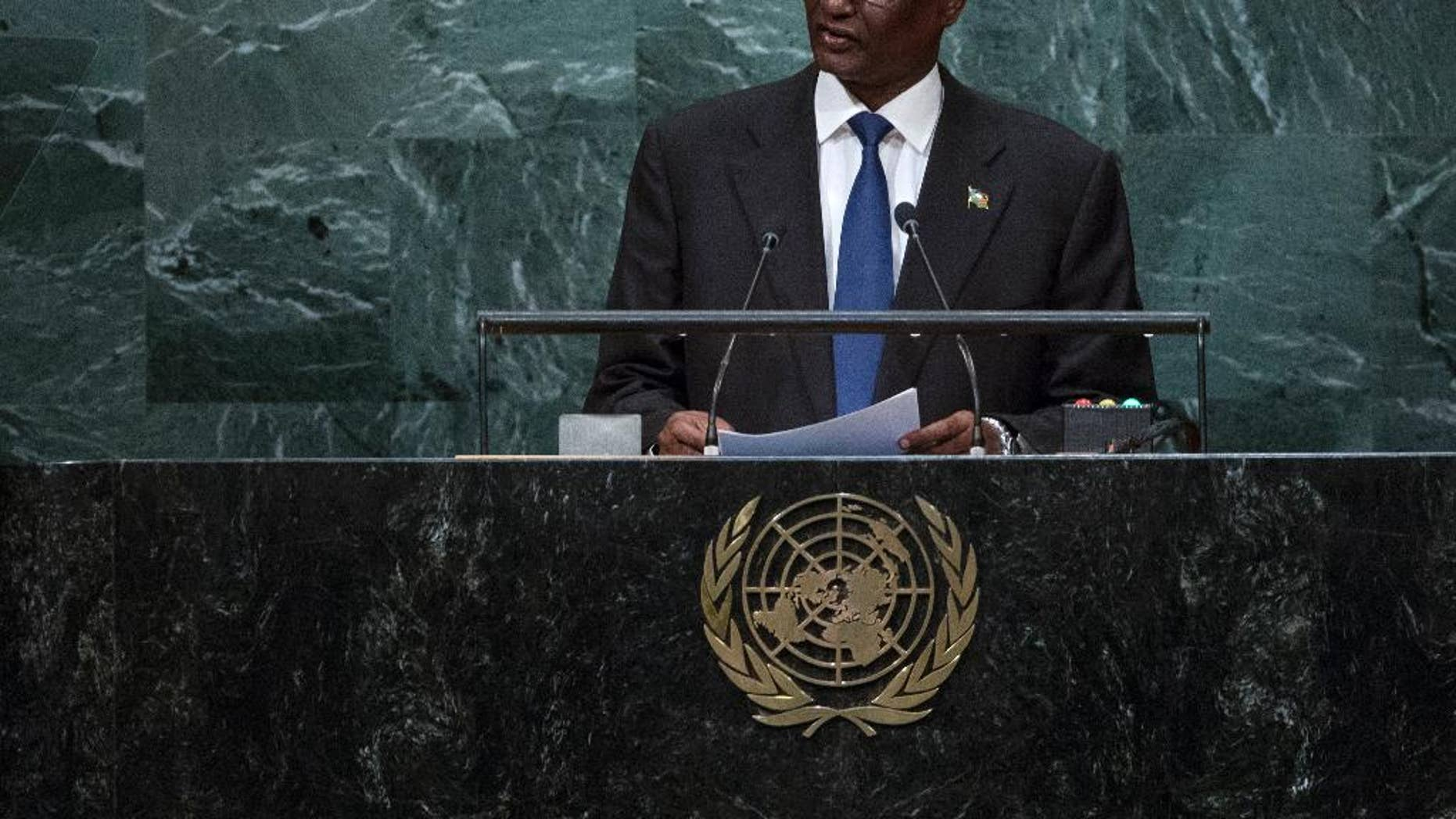 South Sudan's Vice President Taban Deng Gai addresses the 71st session of the United Nations General Assembly, at U.N. headquarters, Friday, Sept. 23, 2016. (AP Photo/Craig Ruttle)