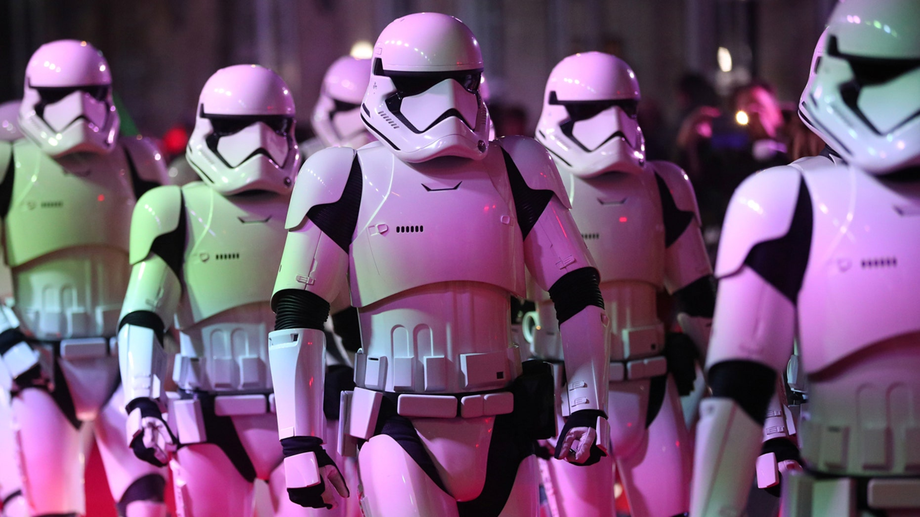 Actors dressed as storm troopers arrive for the European Premiere of 'Star Wars: The Last Jedi', at the Royal Albert Hall in central London, Britain December 12, 2017. REUTERS/Hannah McKay - RC1B25C34AD0