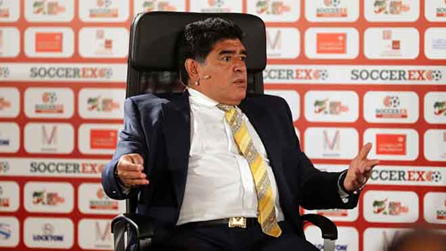 Maradona on May 4, 2015 at the King Hussein convention centre, Dead Sea, Jordan.