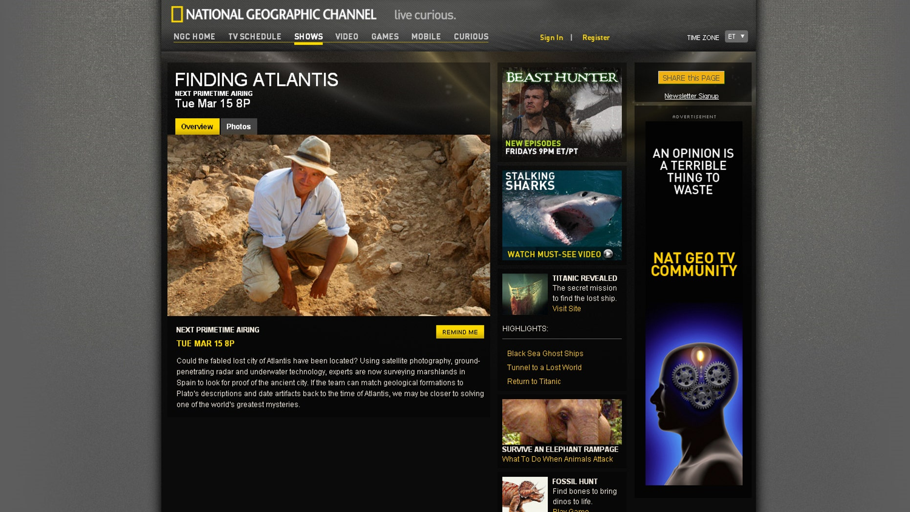 """March 13: National Geographic special """"Finding Atlantis"""" aired, featuring the research of Richard Freund"""