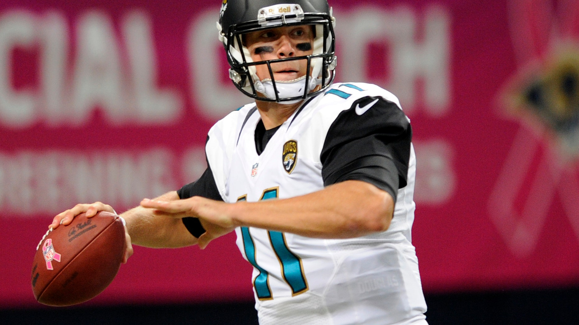 Jacksonville Jaguars quarterback Blaine Gabbert throws during the first quarter of an NFL football game against the St. Louis Rams Sunday, Oct. 6, 2013, in St. Louis. (AP Photo/L.G. Patterson)