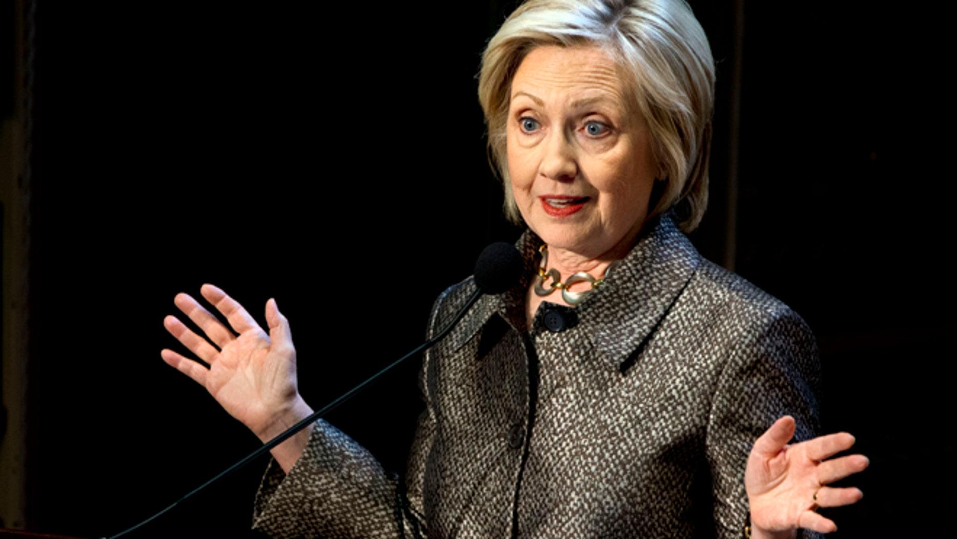Democratic presidential candidate Hillary Rodham Clinton in Washington, on April 22, 2015.