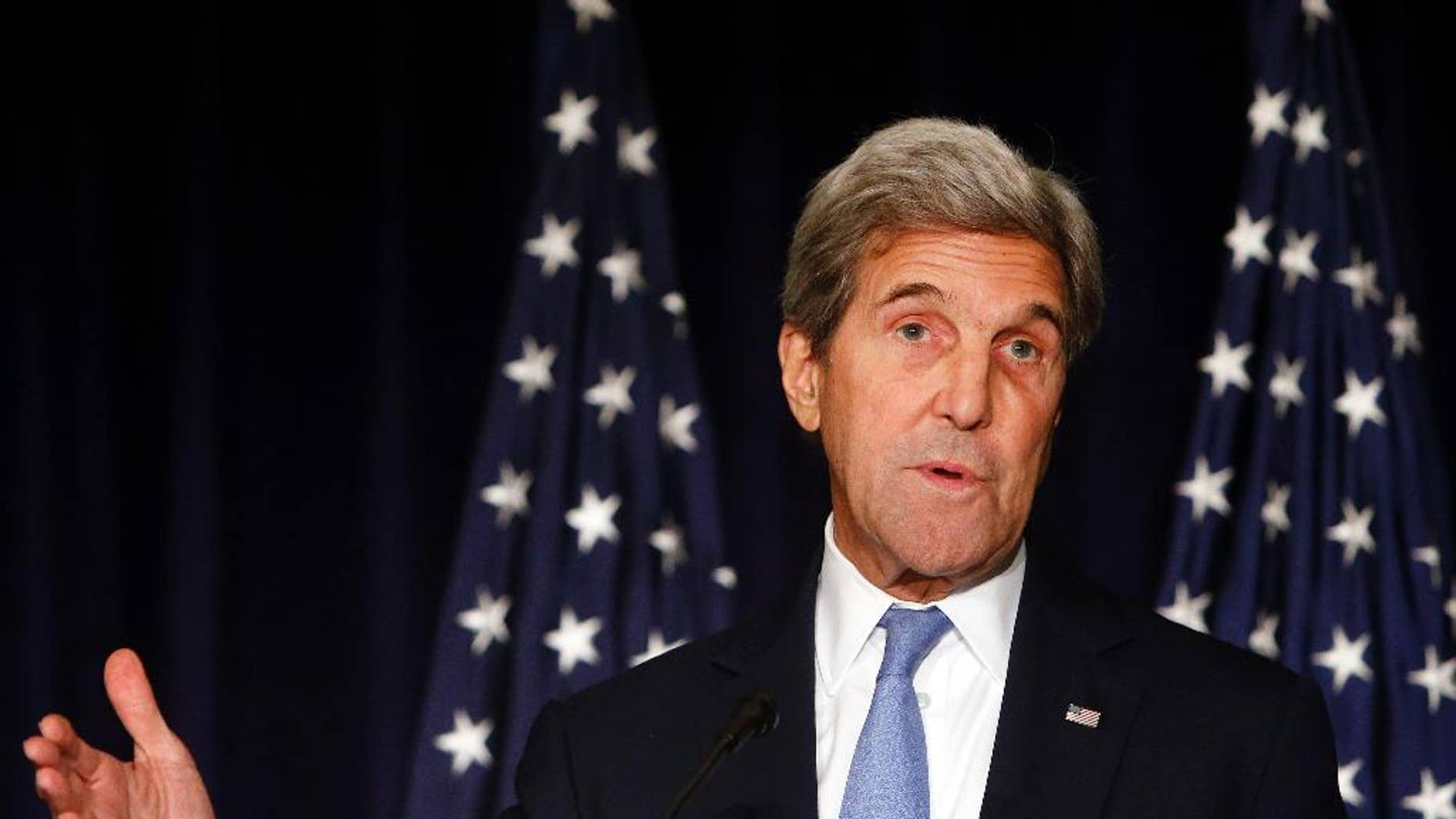 FILE - In this Sept. 22, 2016 file photo, Secretary of State John Kerry speaks in New York. Kerry is threatening to cut off all contacts with Moscow over Syria, unless Russian and Syrian government attacks on Aleppo end. The State Department says Kerry issued the ultimatum in a Wednesday, Sept. 28, 2016,  telephone call to Russian Foreign Minister Sergey Lavrov.(AP Photo/Jason DeCrow, File)