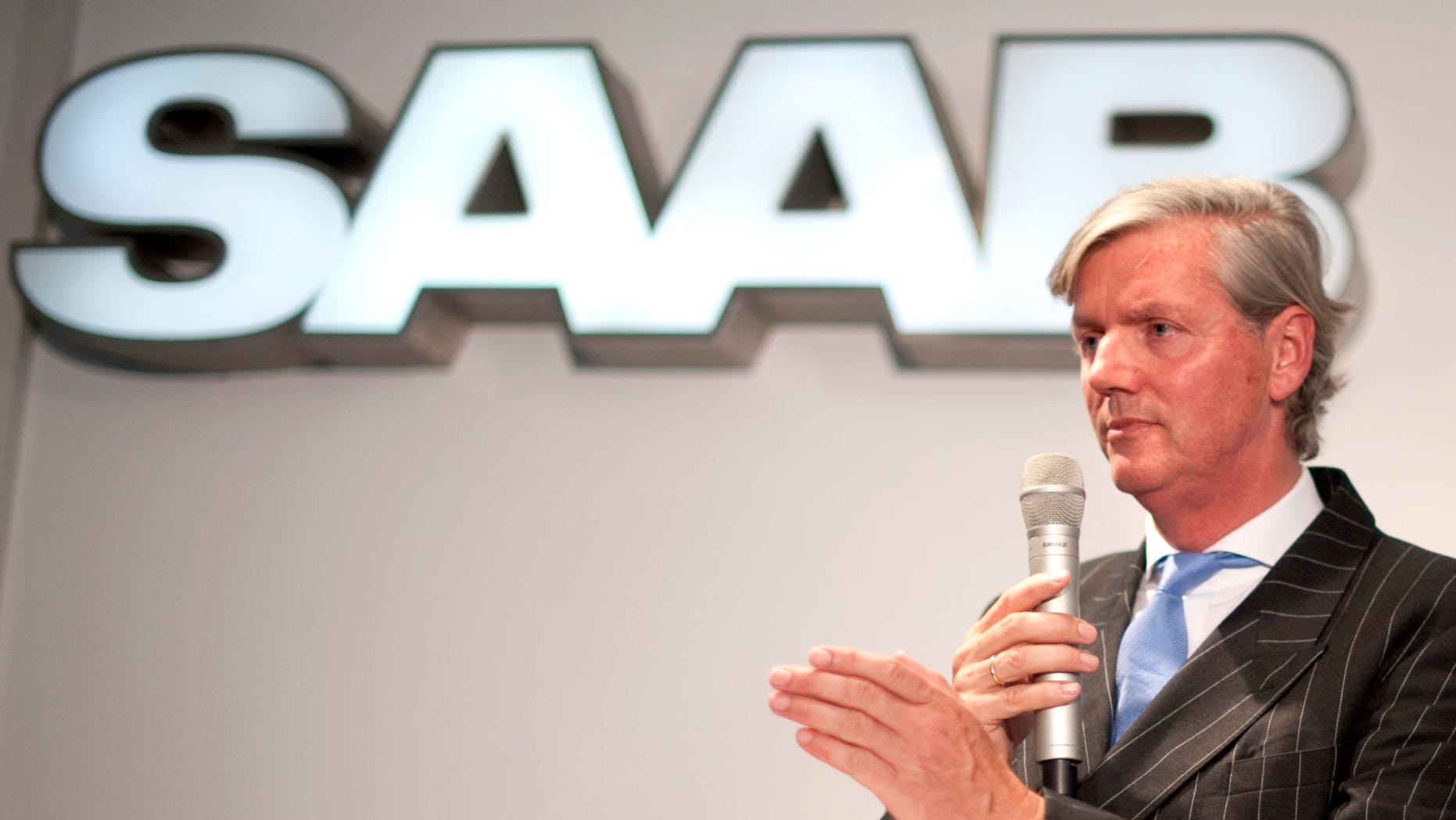 September 7: Victor Muller, Spyker Chief Executive and Chairman of Saab Automobile, speaks during a news conferense in Trollhattan, Sweden.