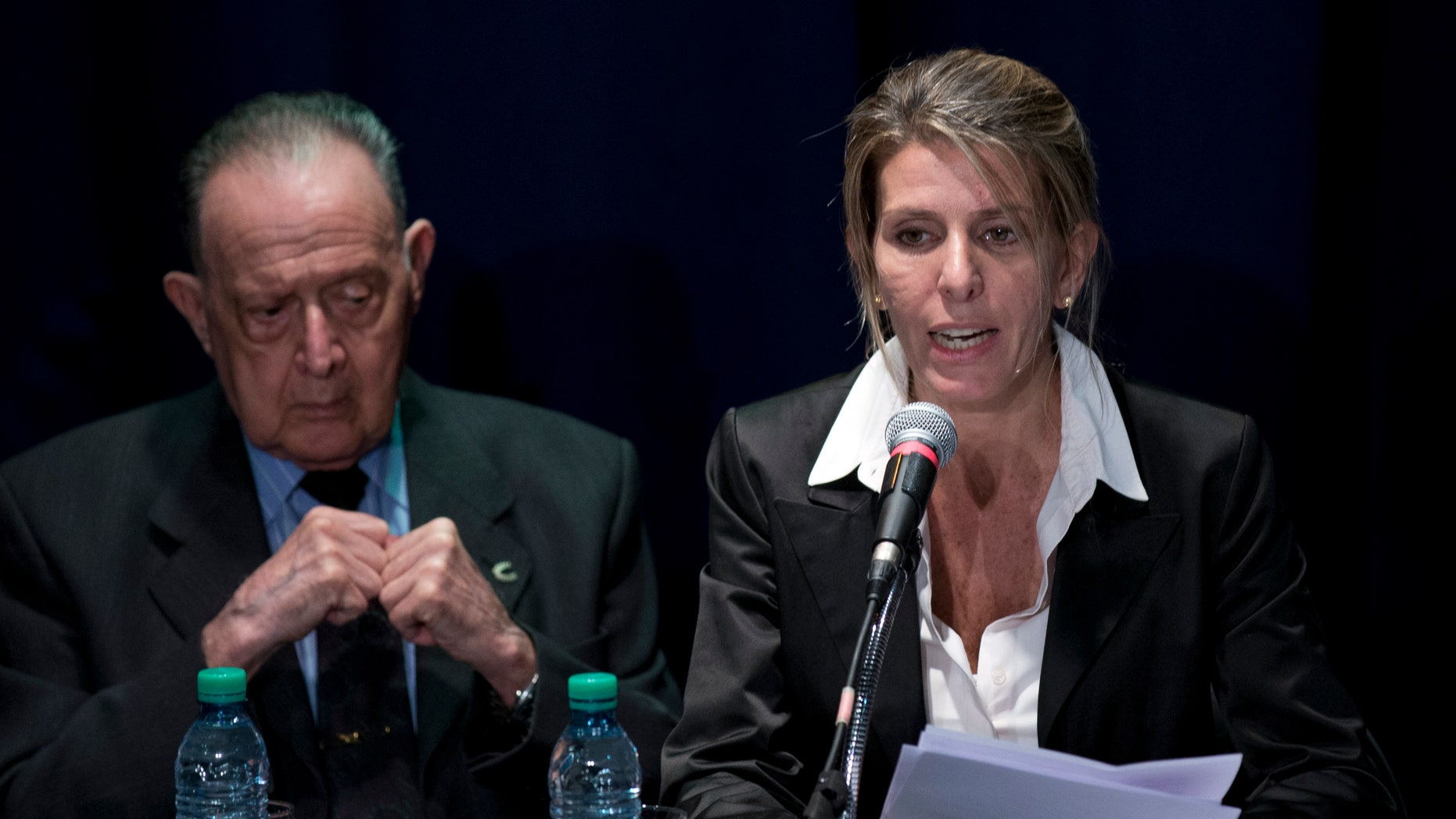 Sandra Arroyo Salgado and forensic doctor Osvaldo Raffo, in Buenos Aires, Argentina, Thursday, March 5, 2015.