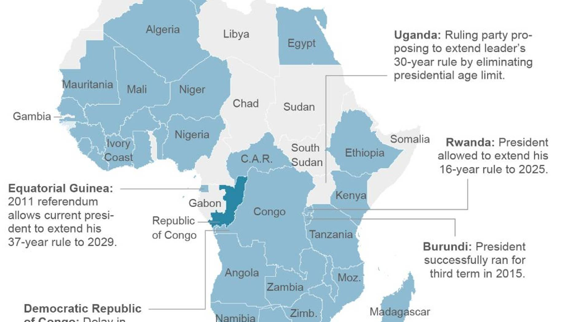 Map shows presidential term limits for African countries; 3c x 5 inches; 146 mm x 127 mm;
