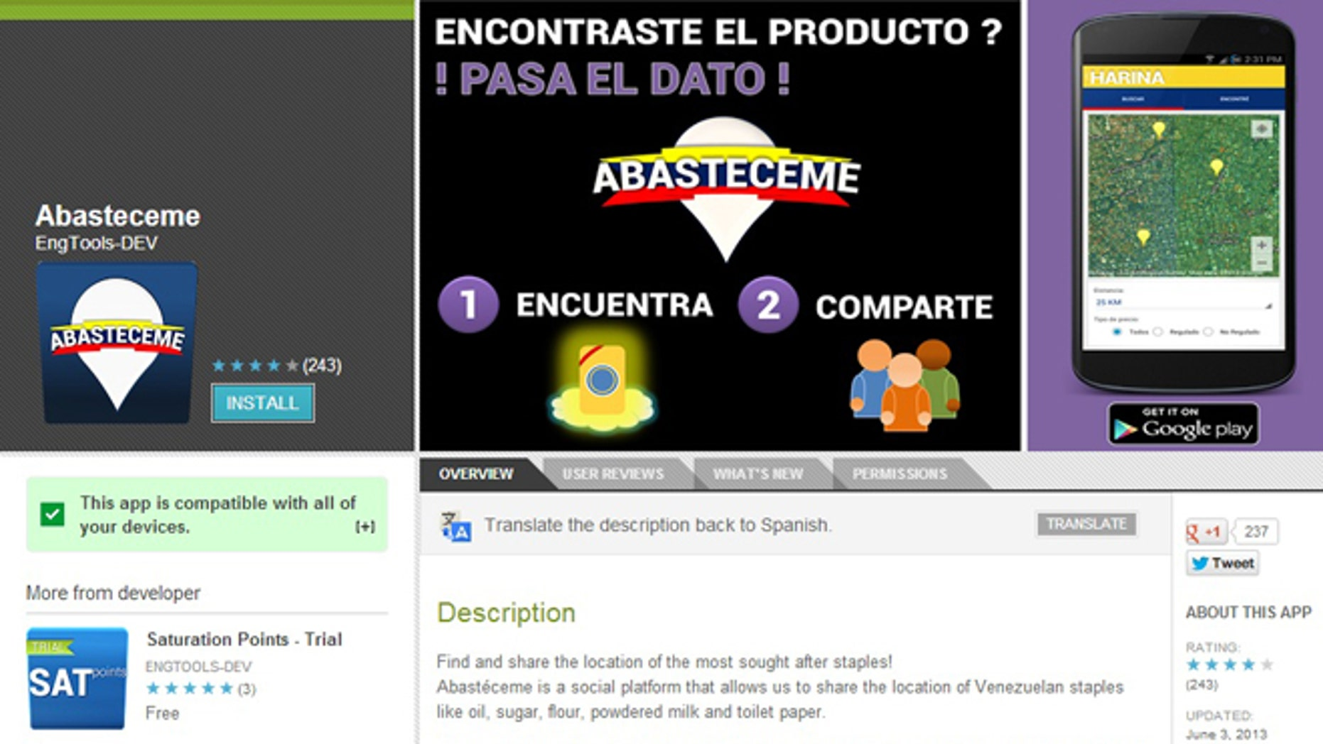 A screenshot of the description for Abastaceme -- which lets Venezuelans find staples such as sugar, flour and toilet paper -- on Google Play.