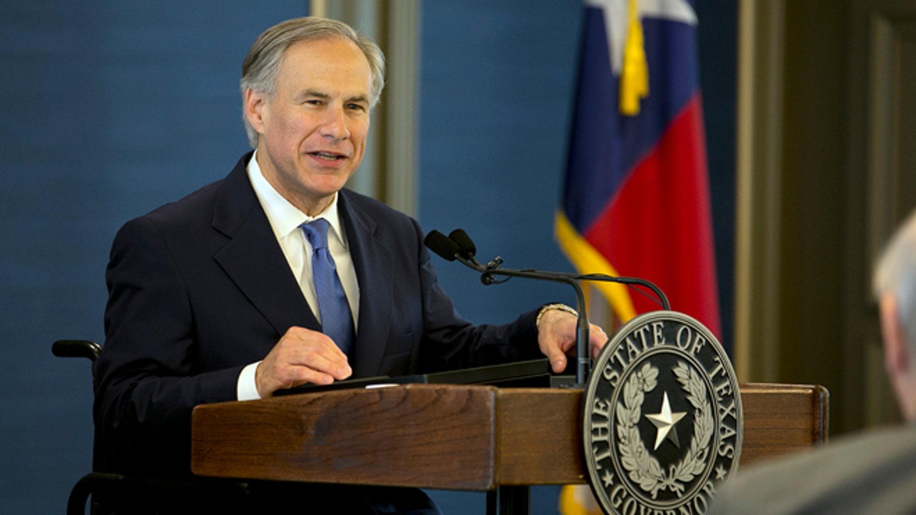 April 21, 2015: Texas Gov. Greg Abbott speaks in Austin.