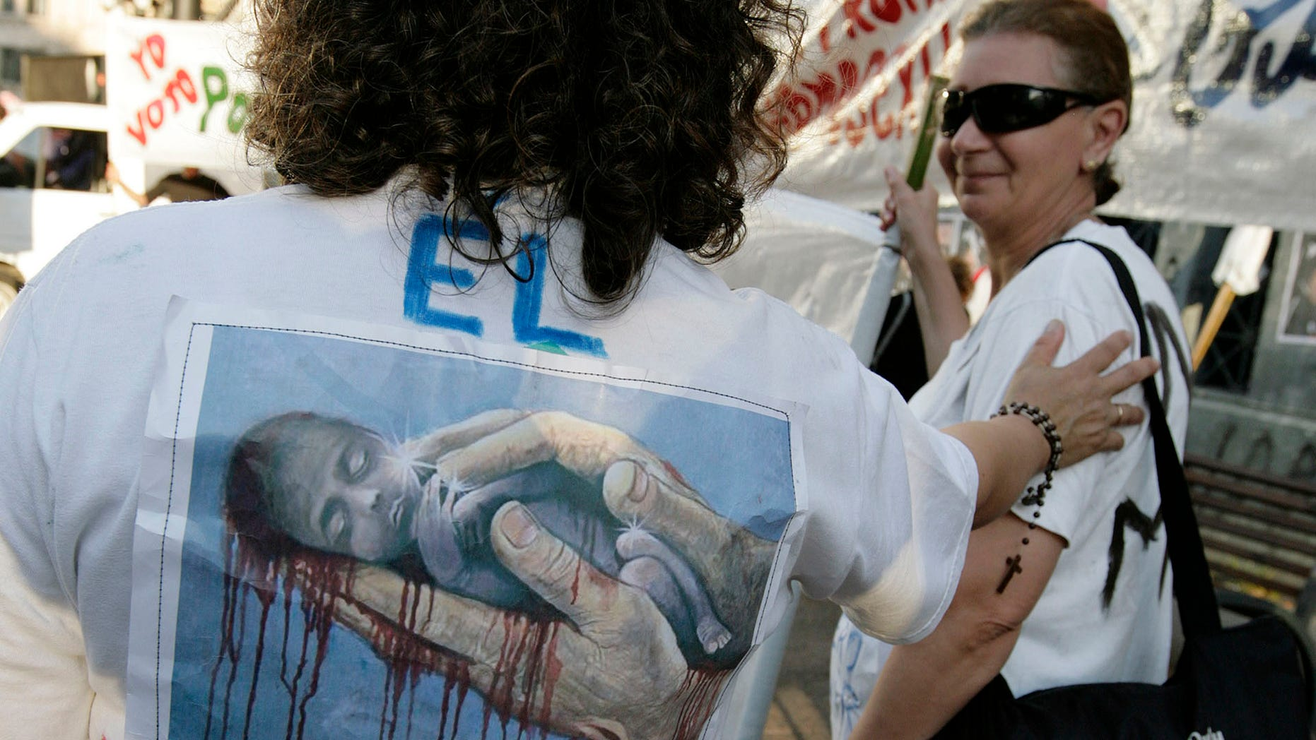 People demonstrate against abortion in Montevideo, Uruguay's capital.
