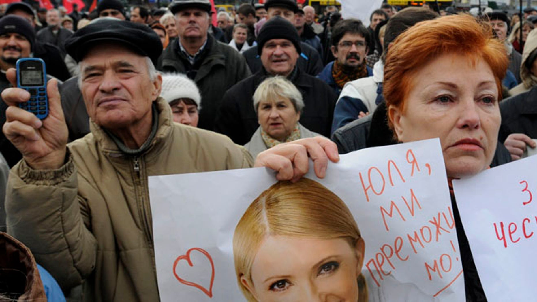 Nov. 6, 2012: Supporters of the Ukrainian Opposition party take part in a rally outside the Central Elections Commission building in Kiev, Ukraine.