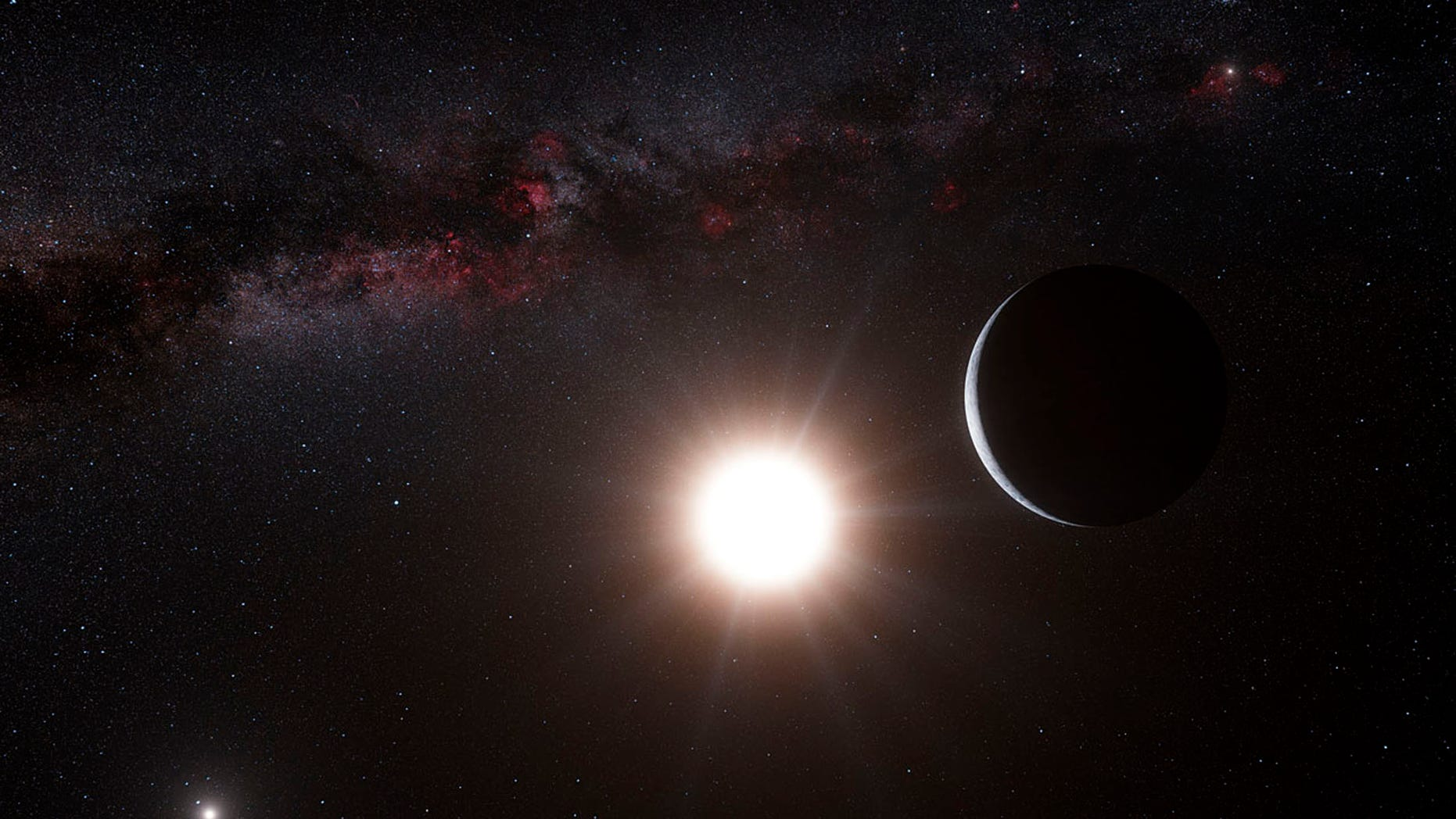 This artist's impression shows the planet orbiting the star Alpha Centauri B, a member of the triple star system that is the closest to Earth in this image released on October 17, 2012. (REUTERS/ESO/L. Calcada/N. Risinger)