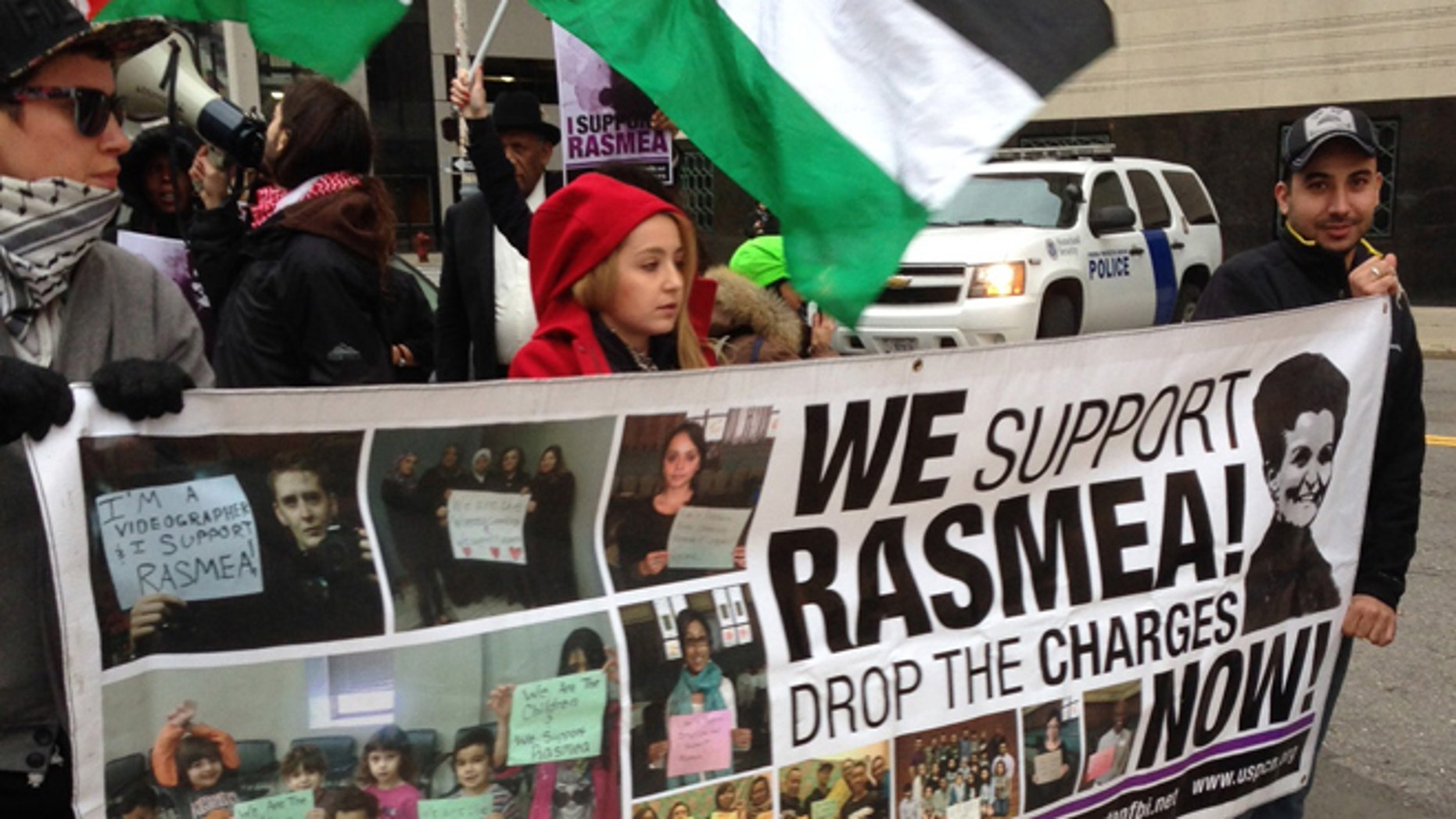 Nov. 4, 2014: Rasmieh Odeh's supporters march outside the federal courthouse in Detroit (AP)