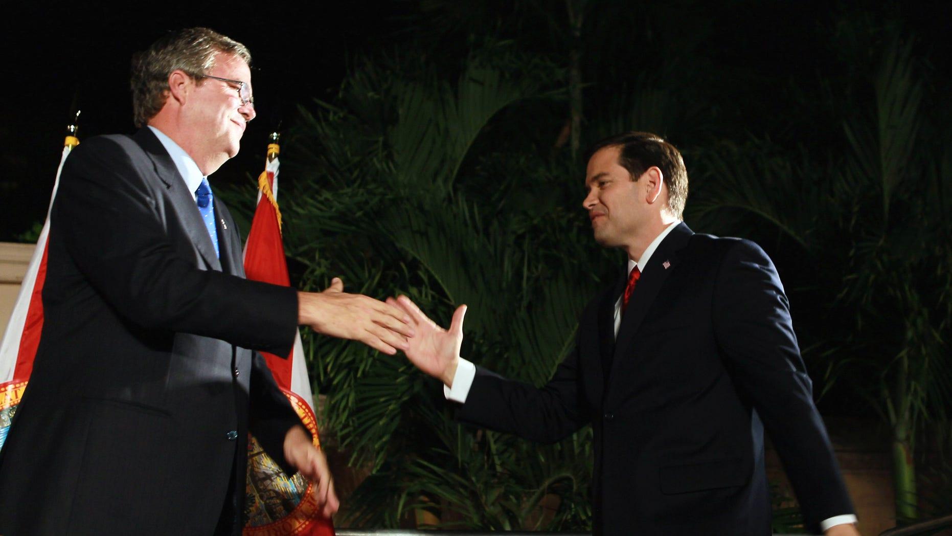 U.S. Senator Marco Rubio and former Governor of Florida Jeb Bush in a November 2010 file photo.