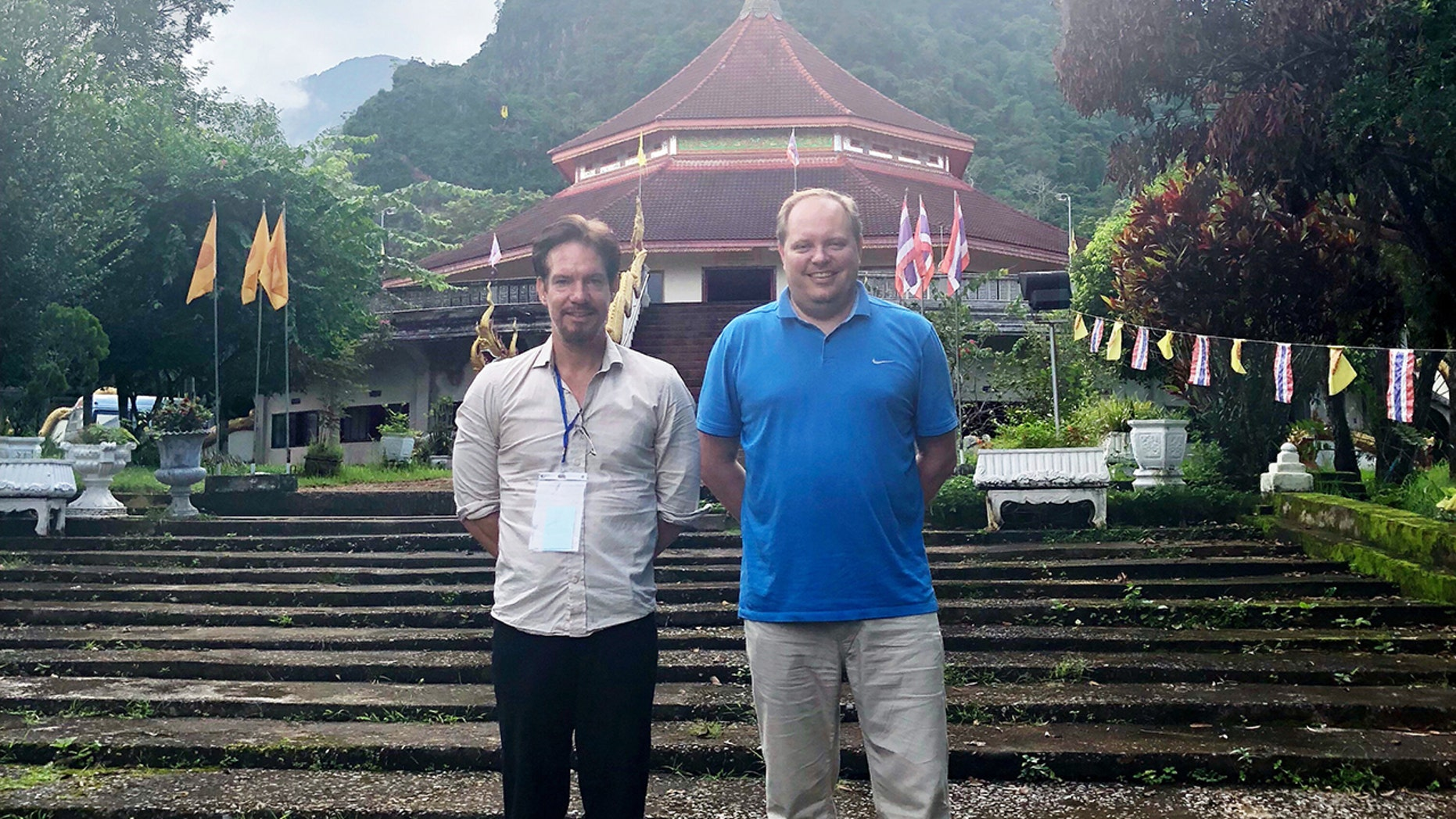 Adam Smith, left, of Kaos Entertainment and Michael Scott, founding partner of Pure Flix in Thailand.