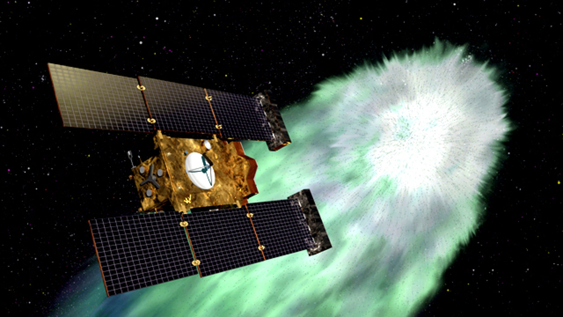 An artist envisions the approach of NASA's Stardust-NExT spacecraft at Comet Tempel 1 -- an encounter that took place on Valentine's Day (Feb. 14) in 2011.
