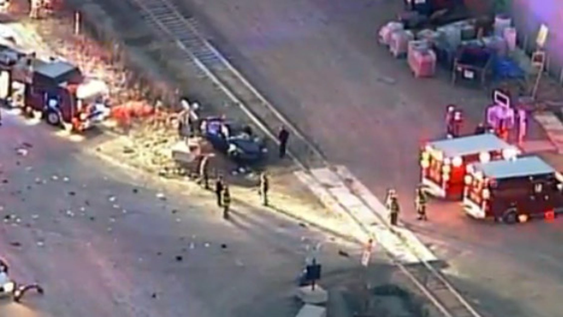 The scene of a crash involving a car and an Amtrak train in south St. Louis County.