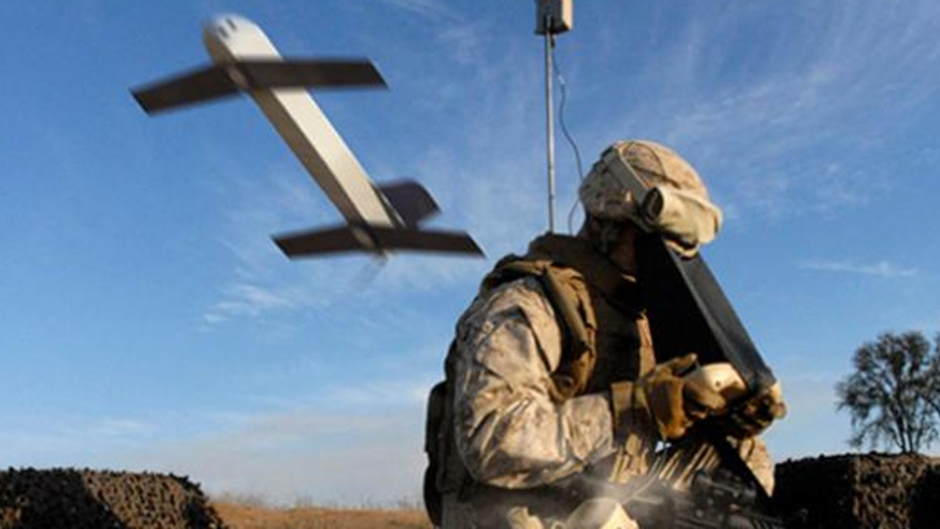 """A """"suicide drone"""" from AeroVironment, capable of launching from a small tube, loitering in the sky and then diving at a target upon command."""