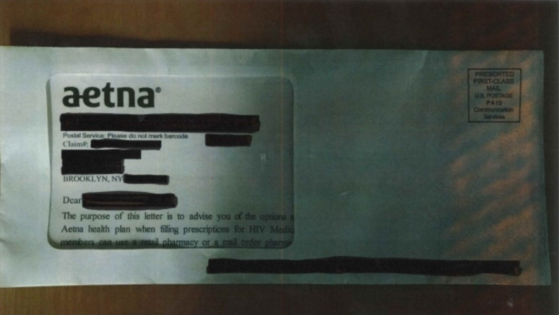 Aetna reportedly revealed the status of HIV patients when mailed envelopes showed personal data through a large window on the front.