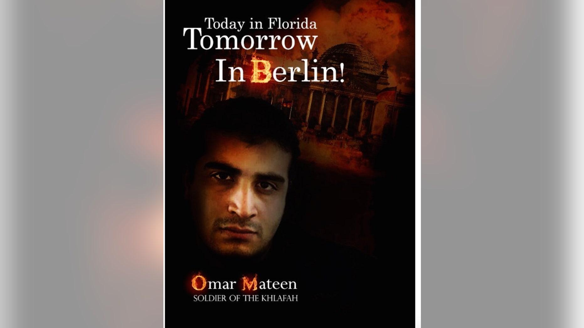 A pro-ISIS piece of propaganda celebrating Omar Mateen's terror attack.