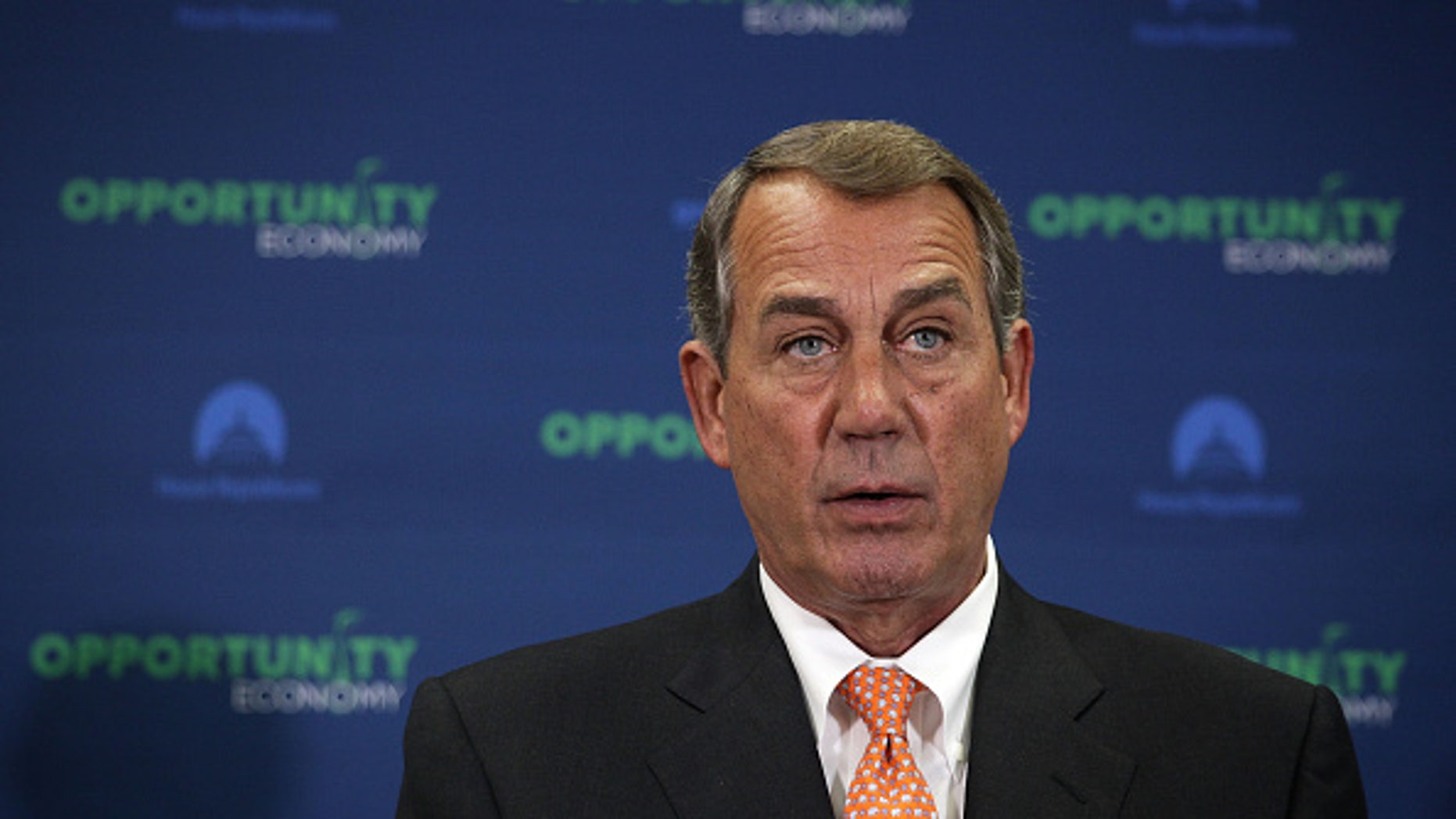 WASHINGTON, DC - JULY 08:  U.S. Speaker of the House John Boehner speaks during a media availability July 8, 2015 at the U.S. Capitol on Capitol Hill in Washington, DC. The House Republican leadership addressed the media after a House Republican Conference meeting.   (Photo by Alex Wong/Getty Images)