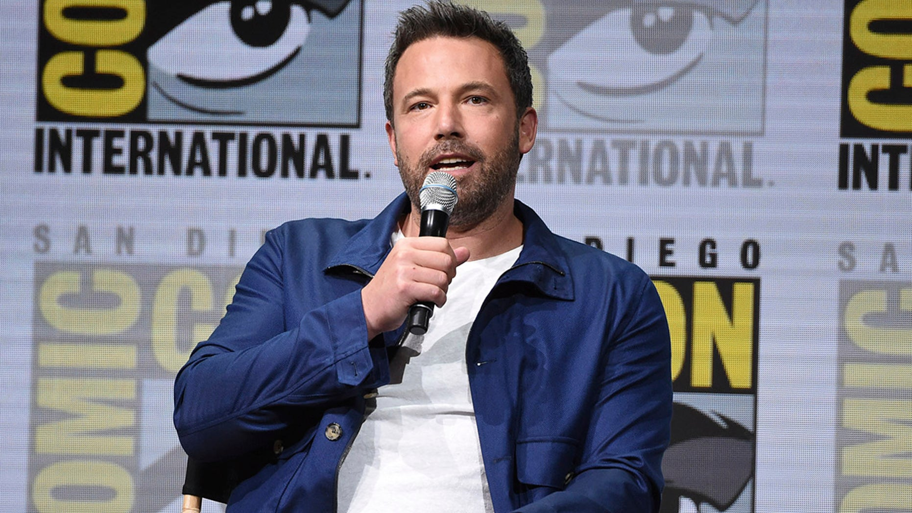 "Ben Affleck speaks at the Warner Bros. ""Justice League"" panel on day three of Comic-Con International on Saturday in San Diego"