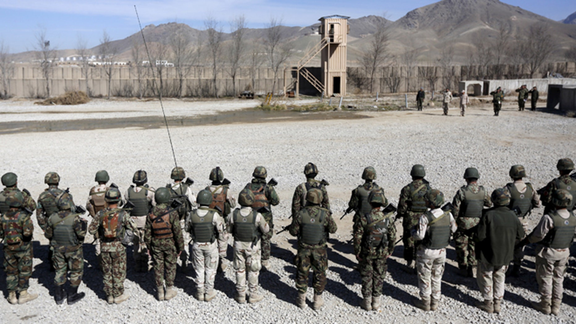 Feb. 16, 2015: Afghan National Army soldiers prepare to leave for a patrol in Logar province. (Reuters)