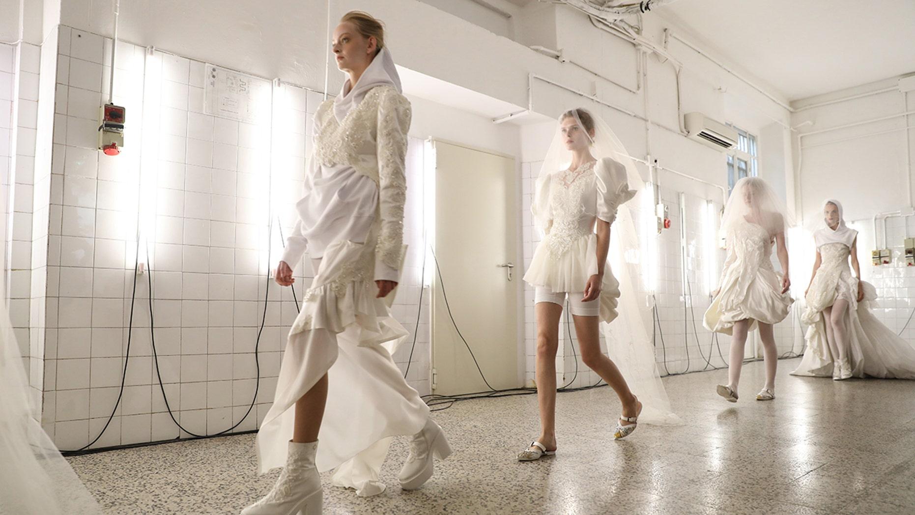 A.F. Vandevorst's show showcased several gym-ready wedding looks.