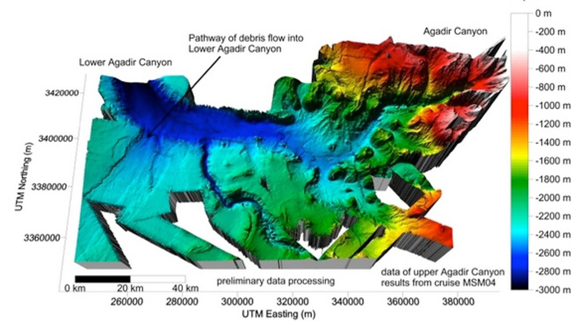 3D seafloor bathymetry map of upper Agadir Canyon