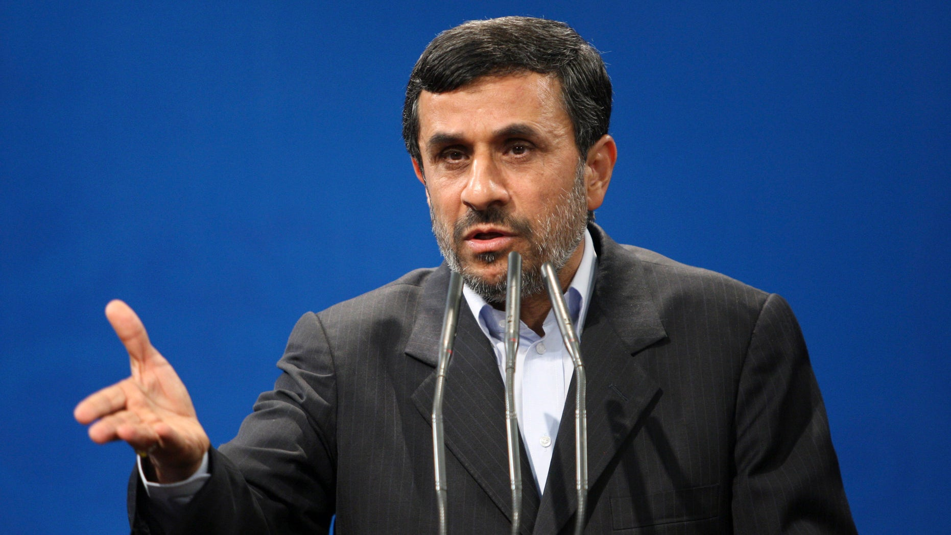 Oct. 29, 2011: Iranian President Mahmoud Ahmadinejad, gestures, as he delivers his speech during a meeting with guests of The Press Union of the Islamic World, at the presidency compound, in Tehran, Iran.