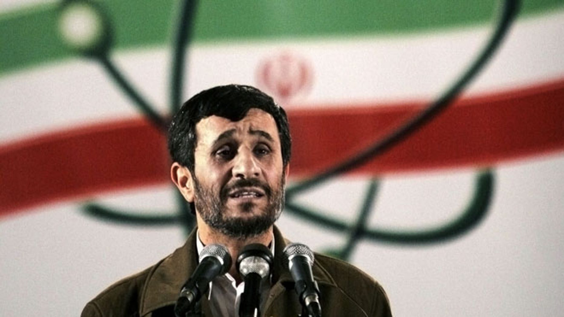 April, 9, 2007: Iranian President Mahmoud Ahmadinejad speaks at a ceremony in Iran's nuclear enrichment facility in Natanz, Iran.