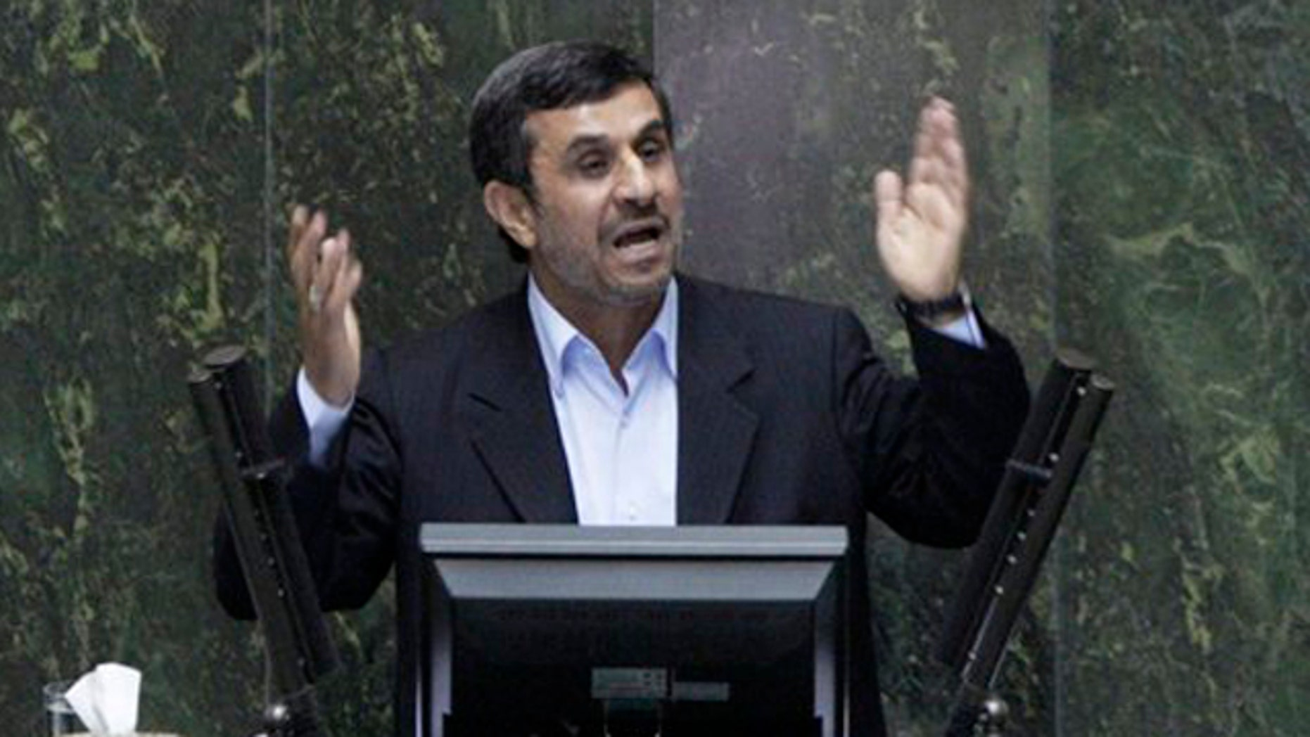 March 14, 2012: Iranian President Mahmoud Ahmadinejad speaks in Tehran.
