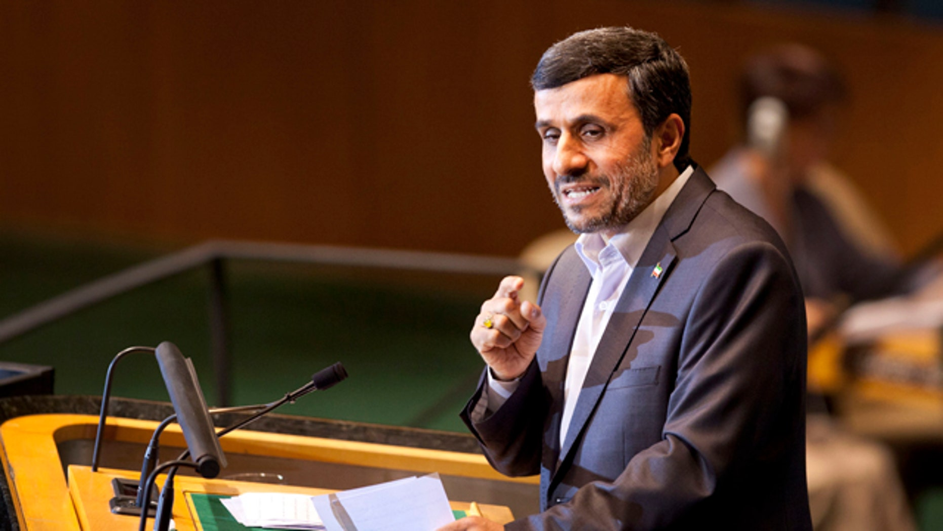 Sept. 22: Iranian President Mahmoud Ahmadinejad speaks during the 66th session of the United Nations General Assembly at U.N. headquarters.