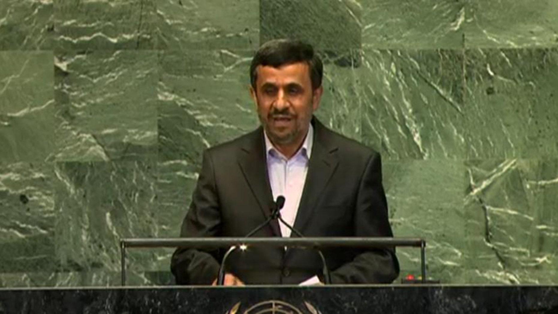 Sept. 24, 2012: Iranian President Mahmoud Ahmadinejad addresses the UN's high-level meeting on the rule of law.