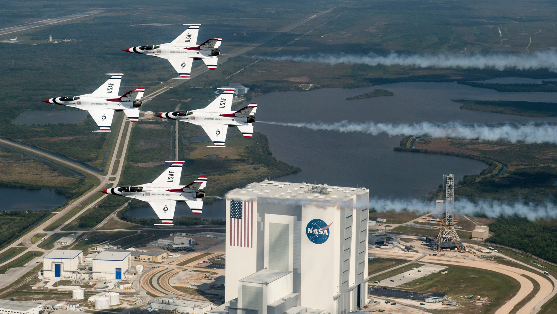 President Donald Trump wants a new Space Force branch of the U.S. military, but it reopens an old argument about military uses in space. Here, the U.S. Air Force Thunderbirds fly over NASA's Kennedy Space Center in Florida with retired NASA astronaut and Air Force Col. Buzz Aldrin.