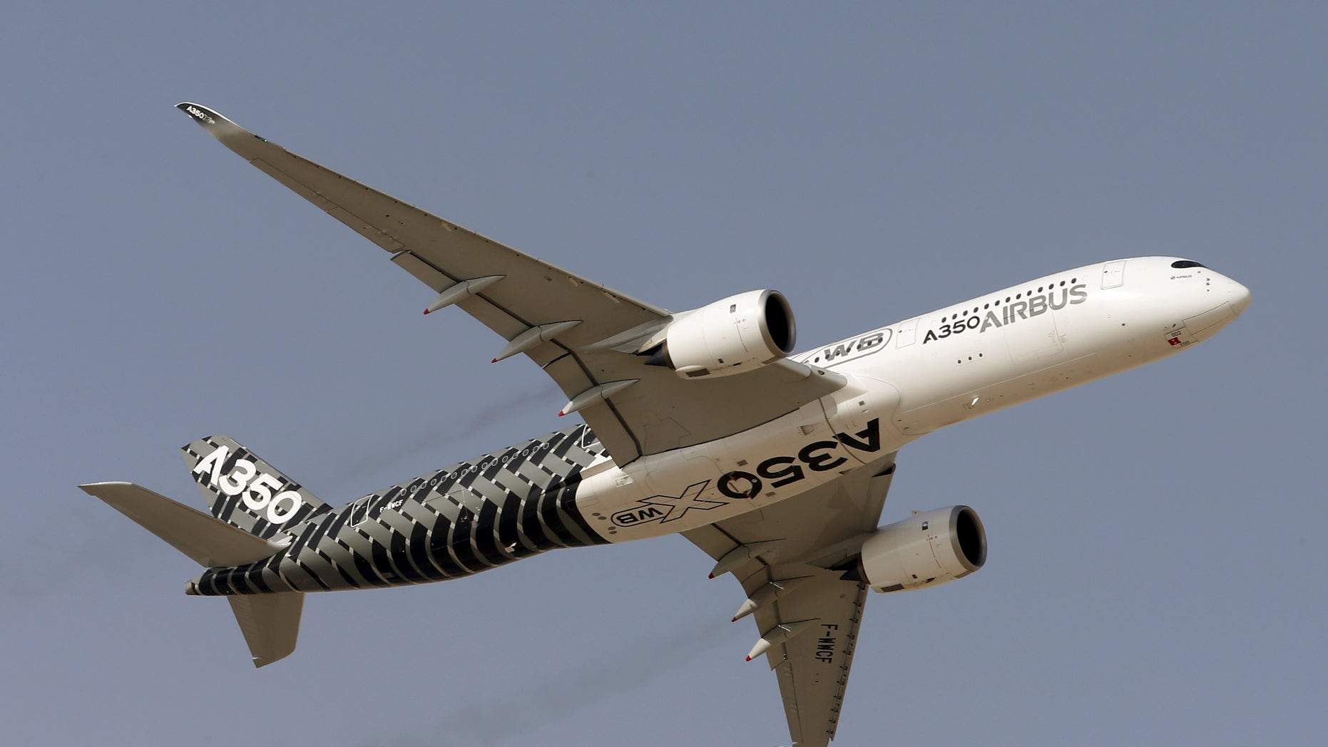An Airbus A350 performs a flypast during the Dubai Airshow November 8, 2015.     REUTERS/Ahmed Jadallah  - RTS609D