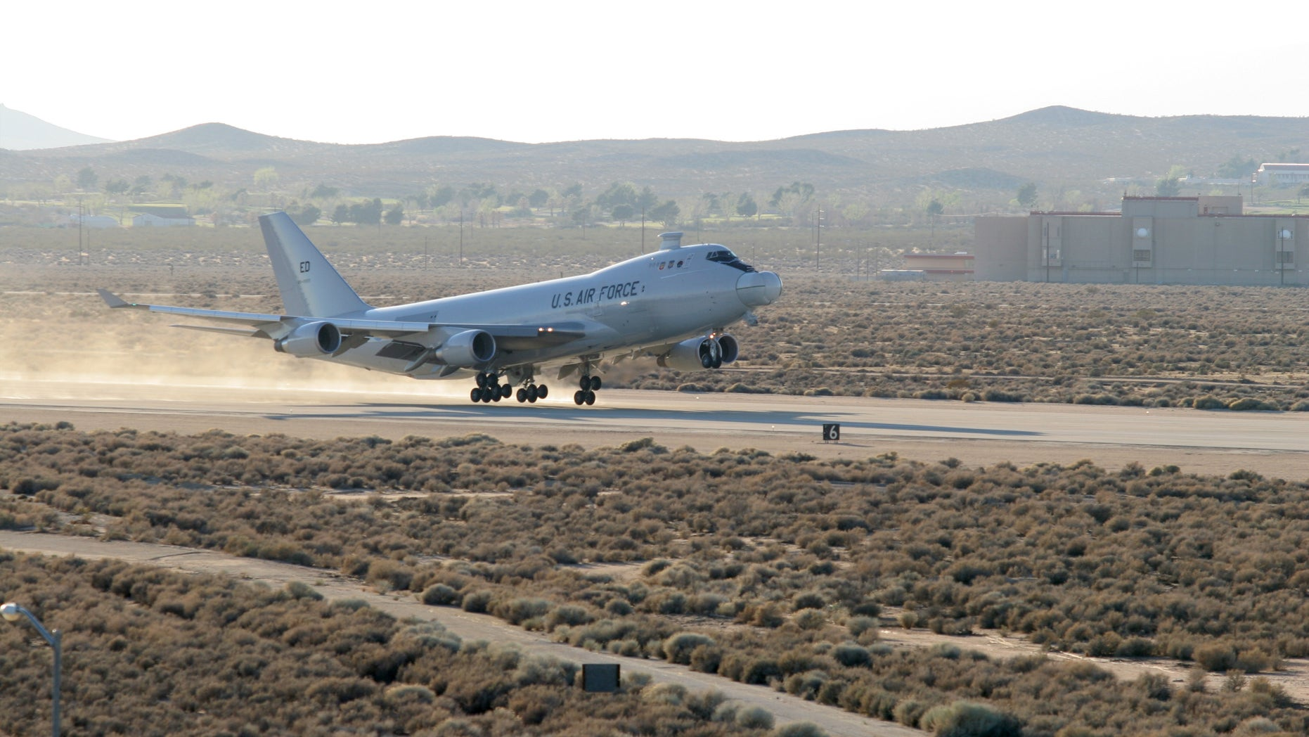 The YAL-1A, a modified Boeing 747-400F known as the Airborne Laser, takes off from Edwards Air Force Base, Calif., on March 15, 2007 for a five-hour test mission that would see the aircraft's Target Illuminator Laser fired in-flight for the first time. (Photo by Kellie Masters)