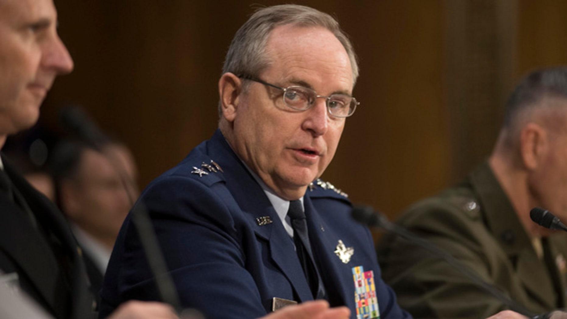 Jan. 28, 2015: Air Force Chief of Staff Gen. Mark Welsh III testifies on Capitol Hill in Washington.