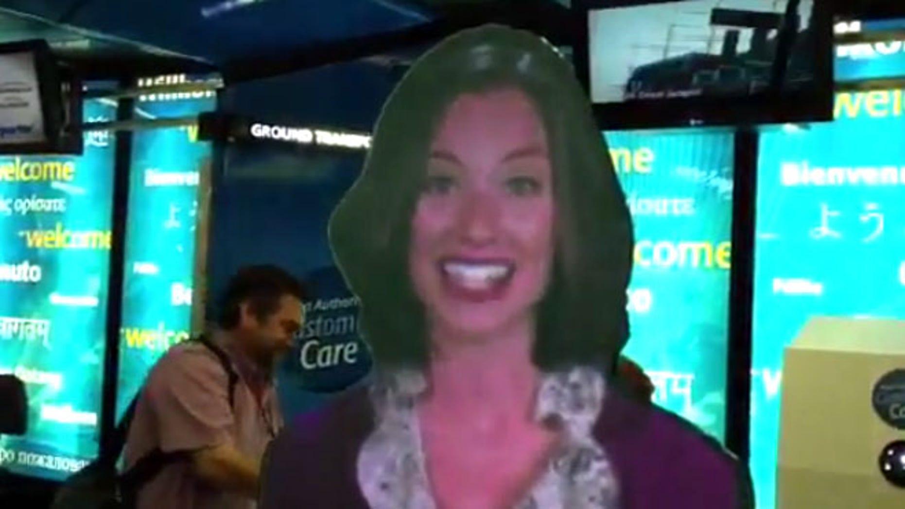 'Eva' is a hologram-like avatar that will help customers navigate LaGuardia, Newark and JFK terminal buildings.