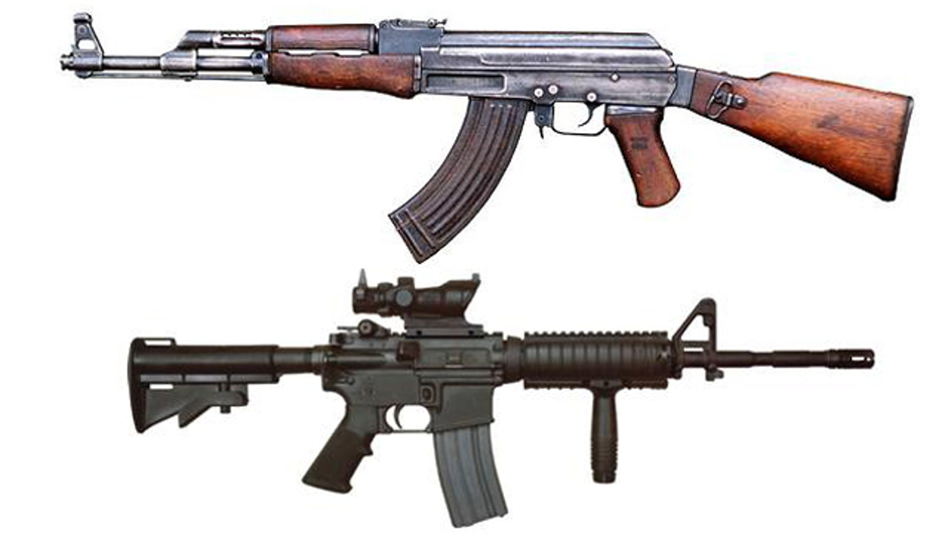 The AK-47 (top) and M4 (bottom) rifles.