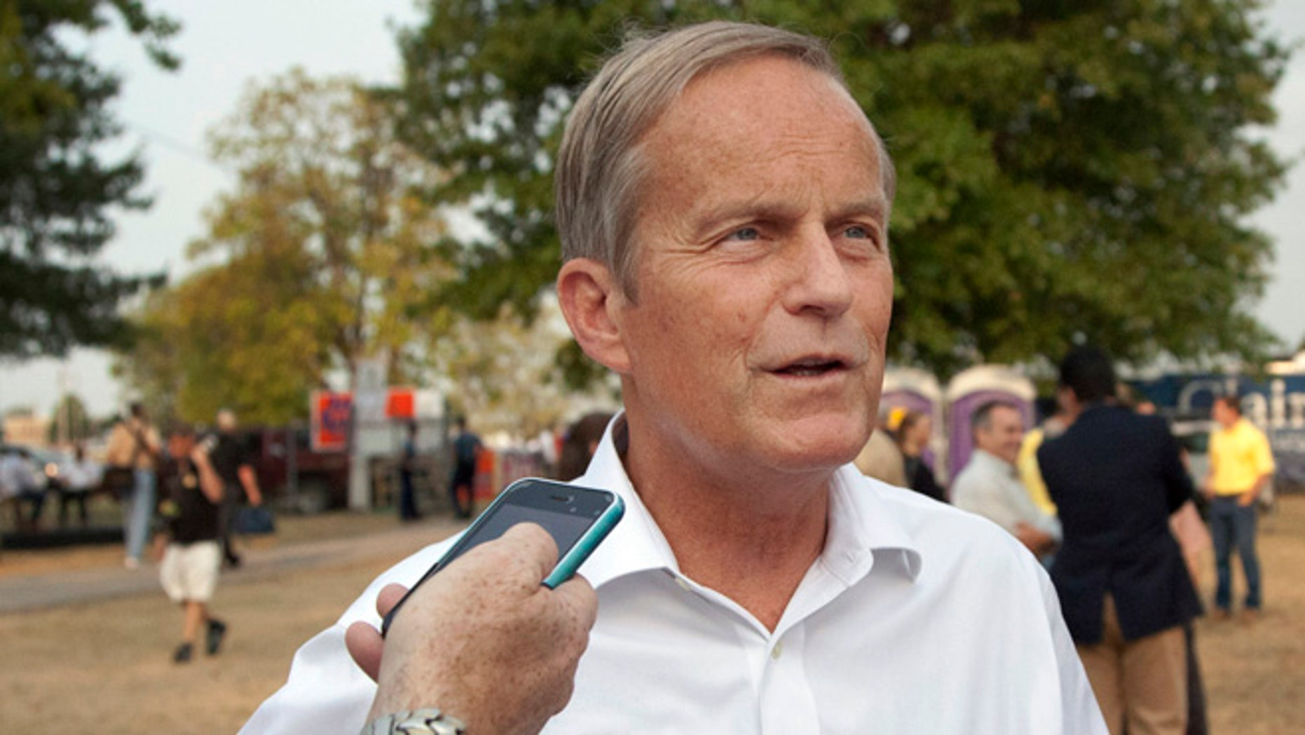 Aug. 16, 2012: Rep. Todd Akin, R-Mo., talks with reporters while attending the Governor's Ham Breakfast at the Missouri State Fair in Sedalia, Mo.