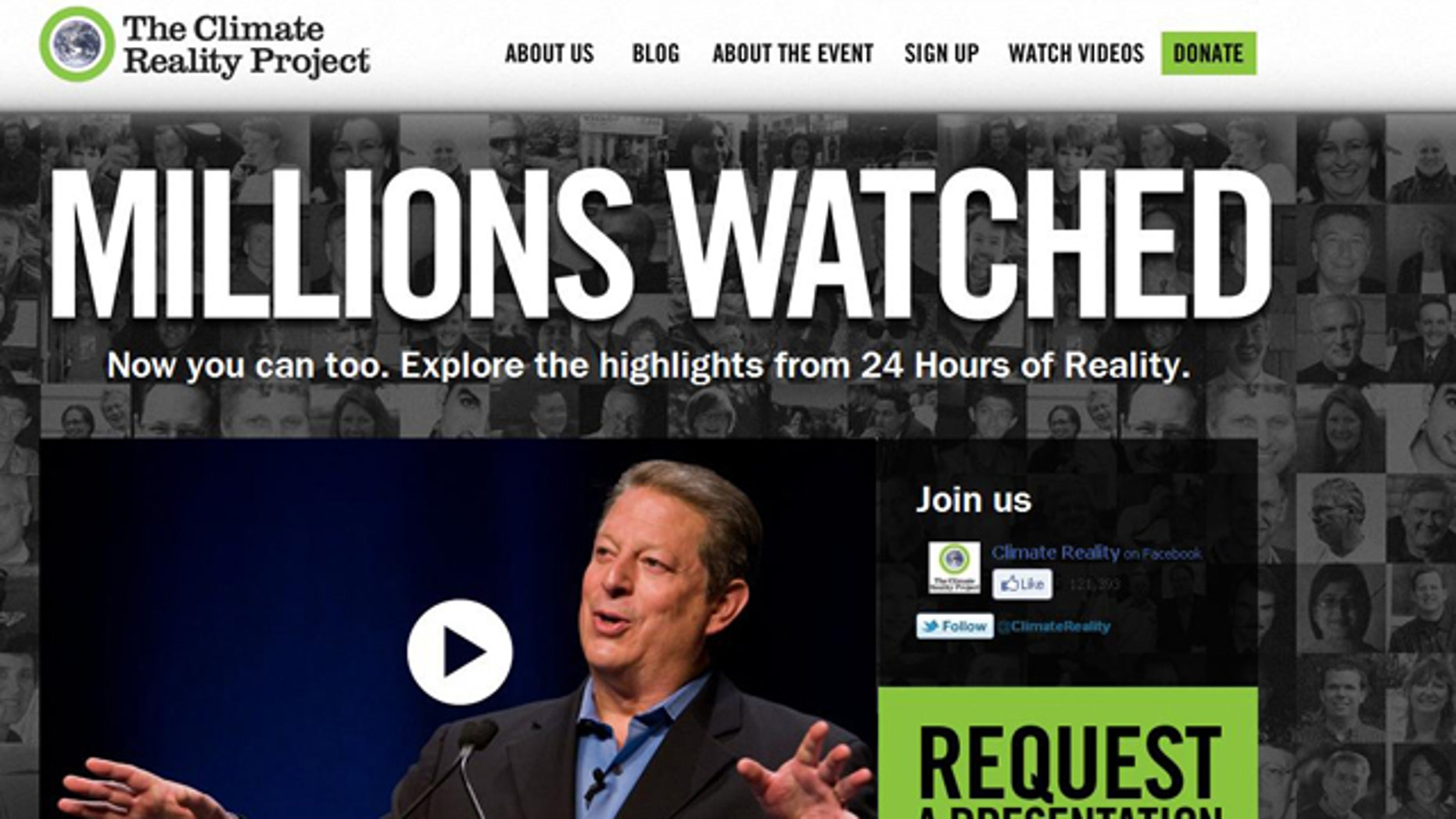 A screenshot of the website for Al Gore's Climate Reality Project, a 24-hour broadcast about the environment that the site claims million watched. Or did they?