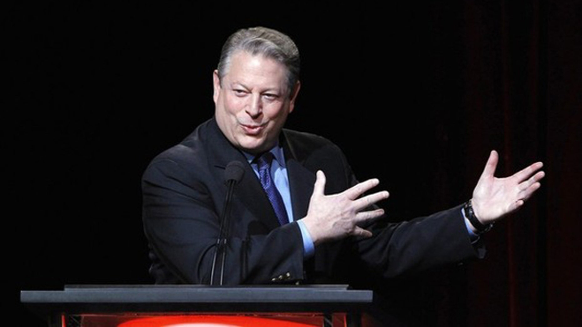 """Jan. 13, 2012: Former U.S. Vice President and Current TV Chairman and co-founder Al Gore speaks during the panel for Current TV's """"Politically Direct"""" at the Television Critics Association winter press tour in Pasadena, California."""