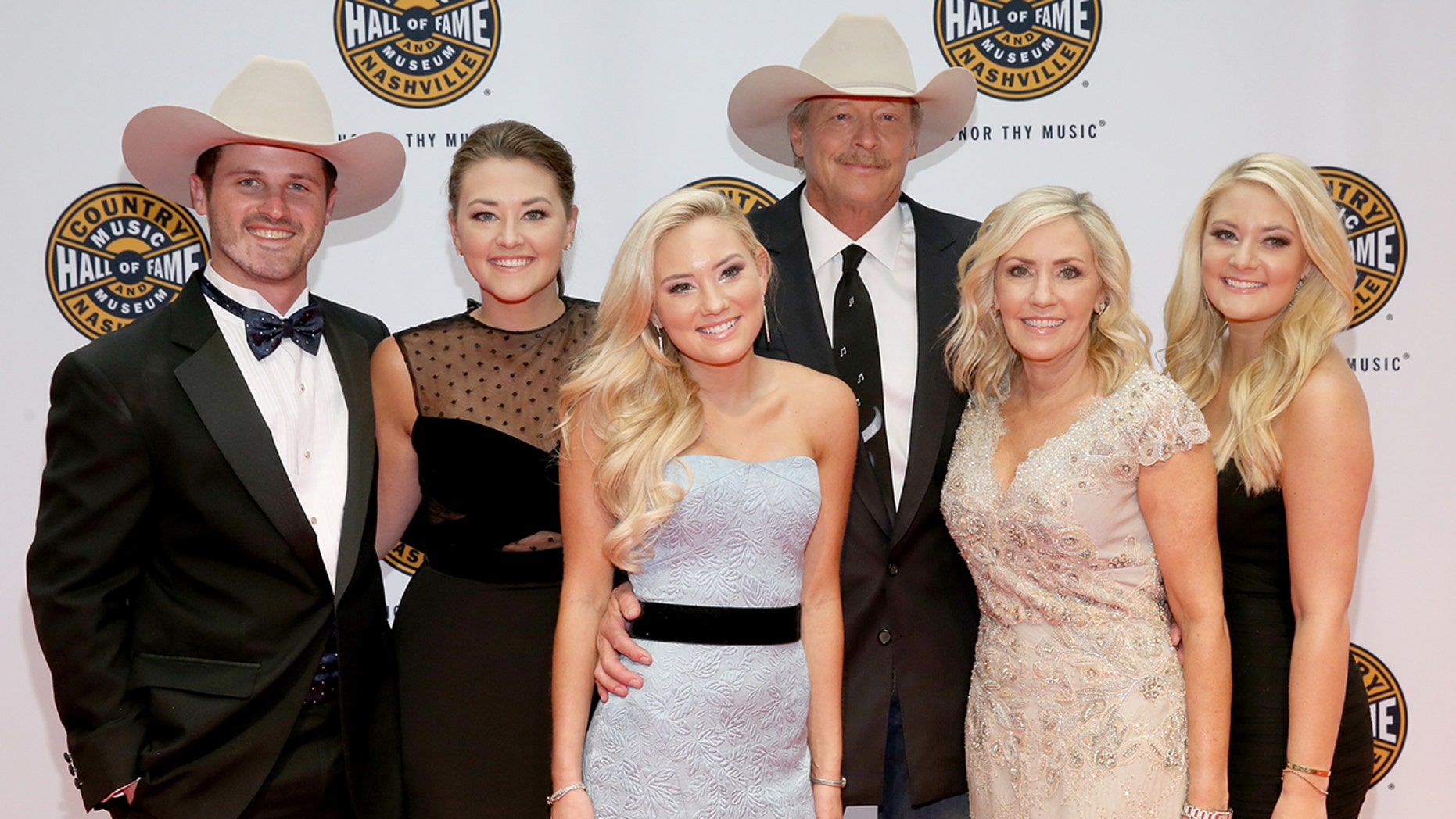 Alan Jackson is mourning the death of his son-in-law Ben Selecman after his sudden death. Here, Jackson stands with his family members Ben Selecman, Mattie Jackson, Dani Jackson, Denise Jackson, and Alexandra Jackson.