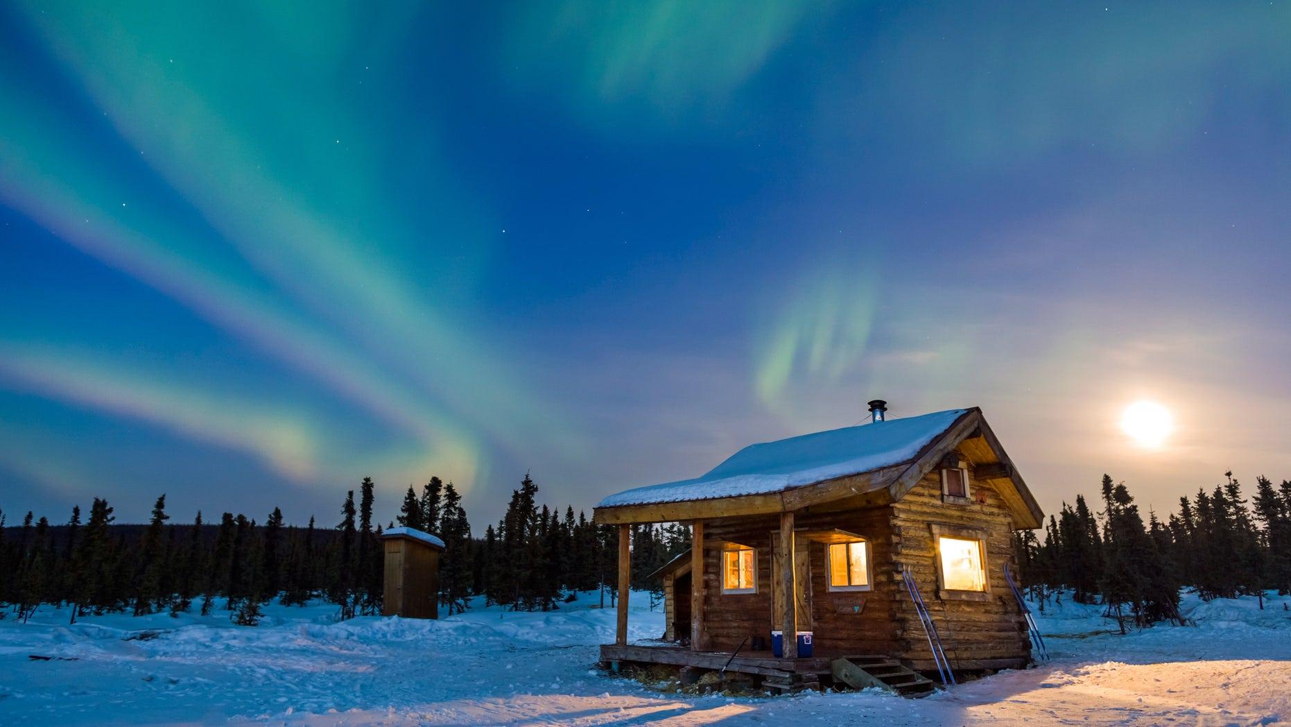 Alaska cabin, northern lights