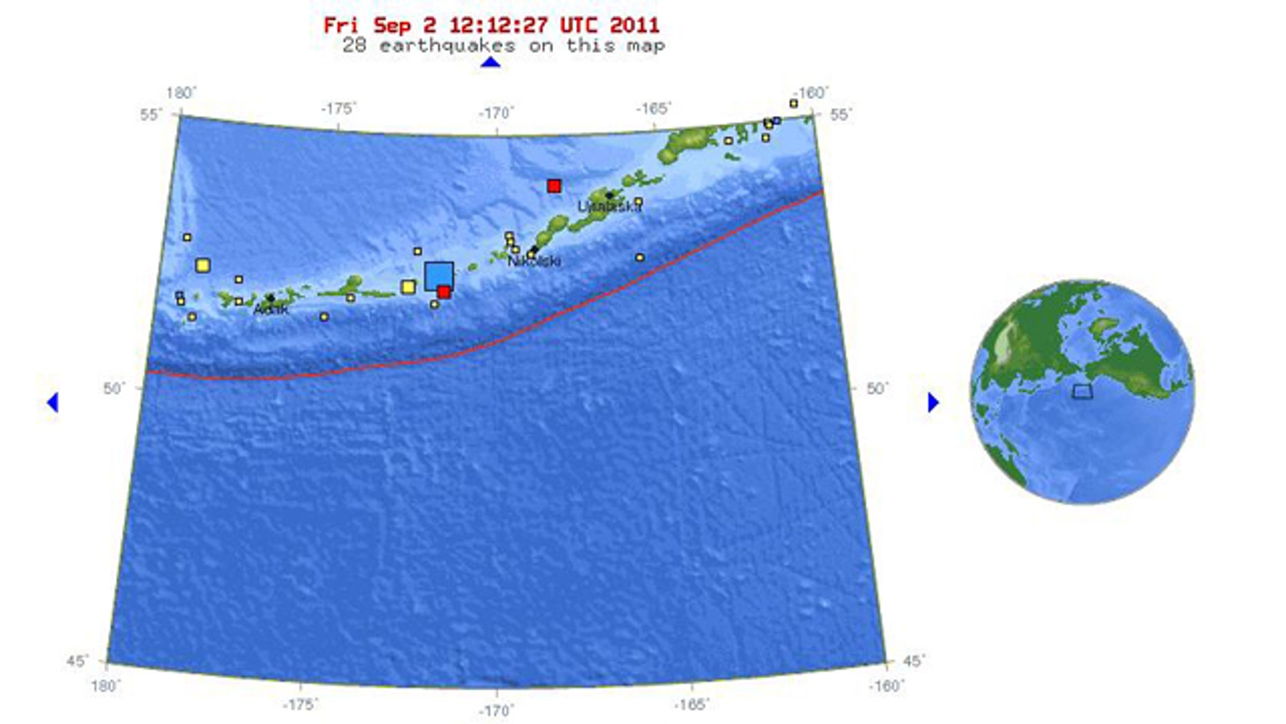 Sept. 2, 2011: A map from the USGS shows the location of an earthquake that struck Alaska's Aleutian island chain, an area of high earthquake activity.