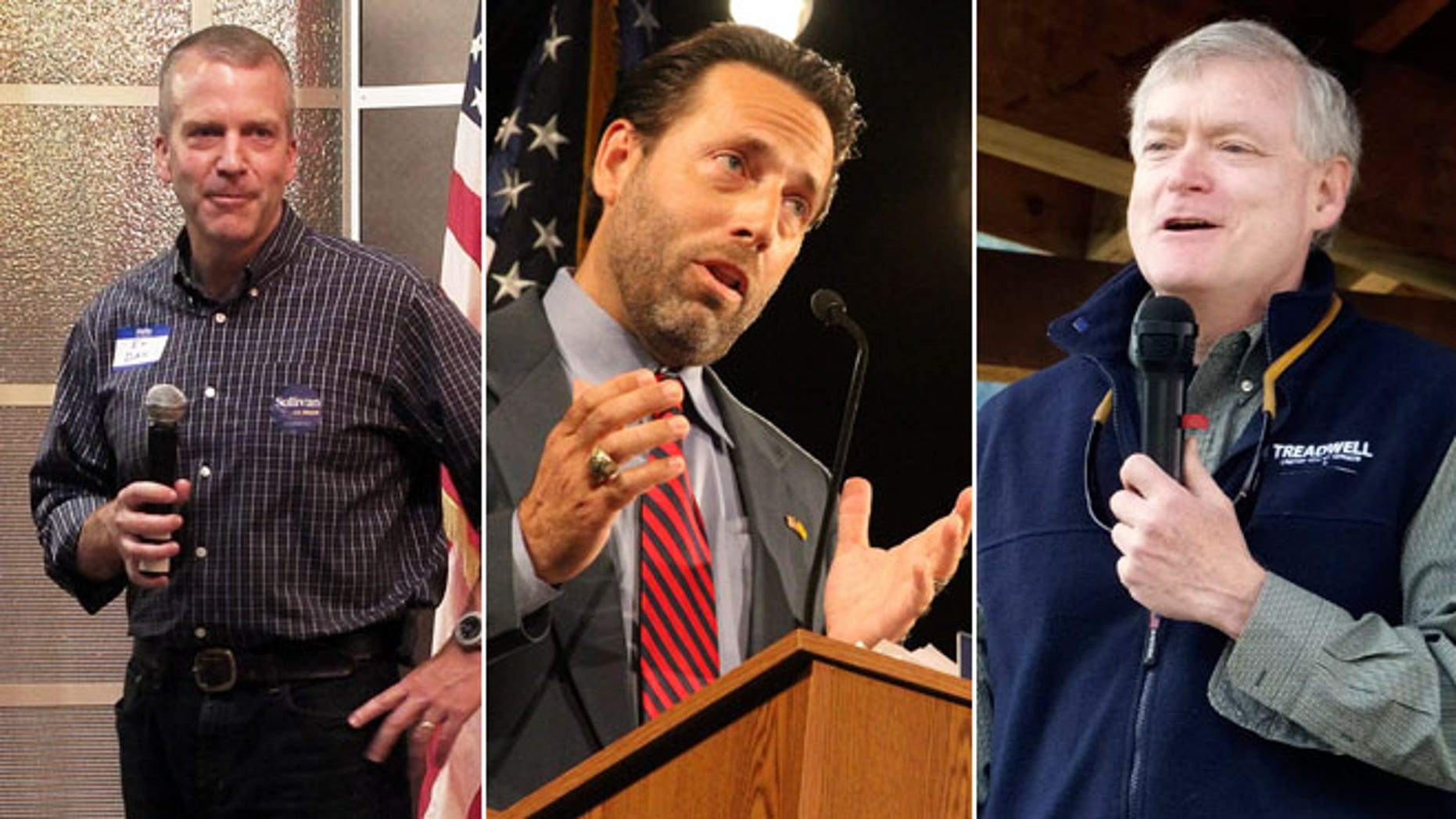 File photos of Alaska Republican U.S. Senate candidates Dan Sullivan at a campaign event in Juneau, Alaska on Aug. 9, 2014, Joe Miller during a debate in Anchorage on Aug. 10, 2014 and Mead Treadwell in Douglas, Alaska on June 21, 2014.