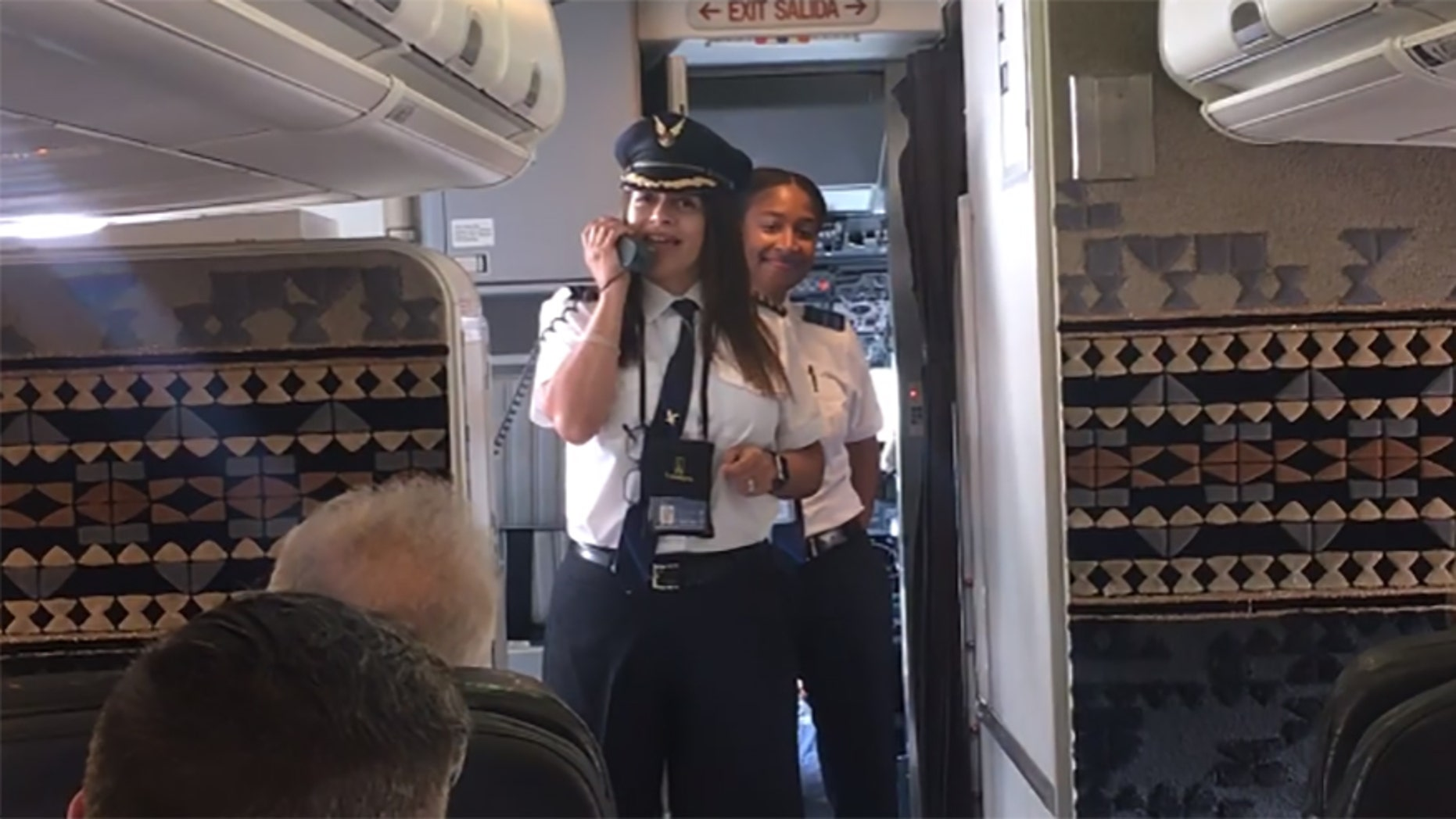 Captain Tara Write and First Officer Mallory Cave told passengers they were on a history-making flight on Sunday.