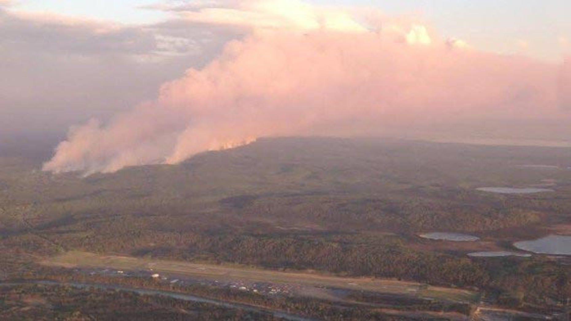 May 25, 2014: Smoke from a wildfire rises over Alaska's Kenai Peninsula (Alaska Division of Forestry)