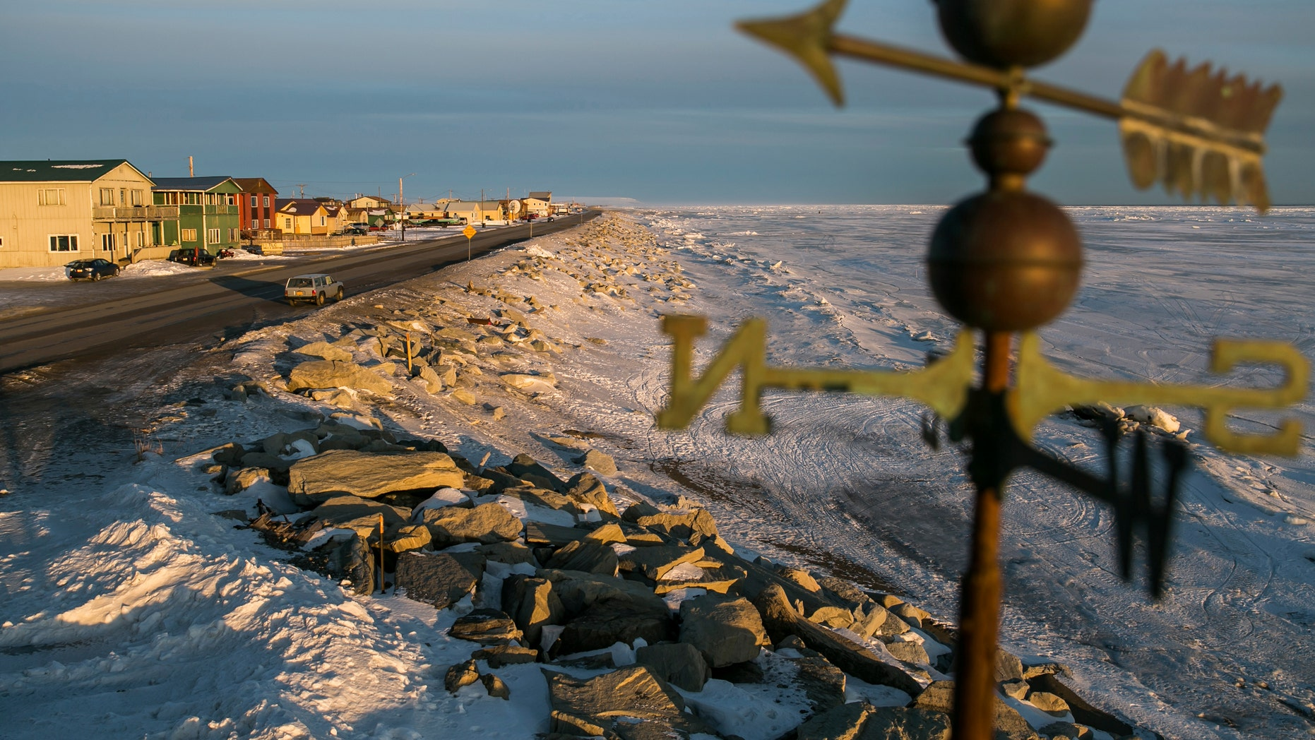 Mar. 10, 2014: A frozen beach on the Bering Sea coast is seen near the last stretch mushers must pass before the finish line of the Iditarod dog sled race in Nome, Alaska.